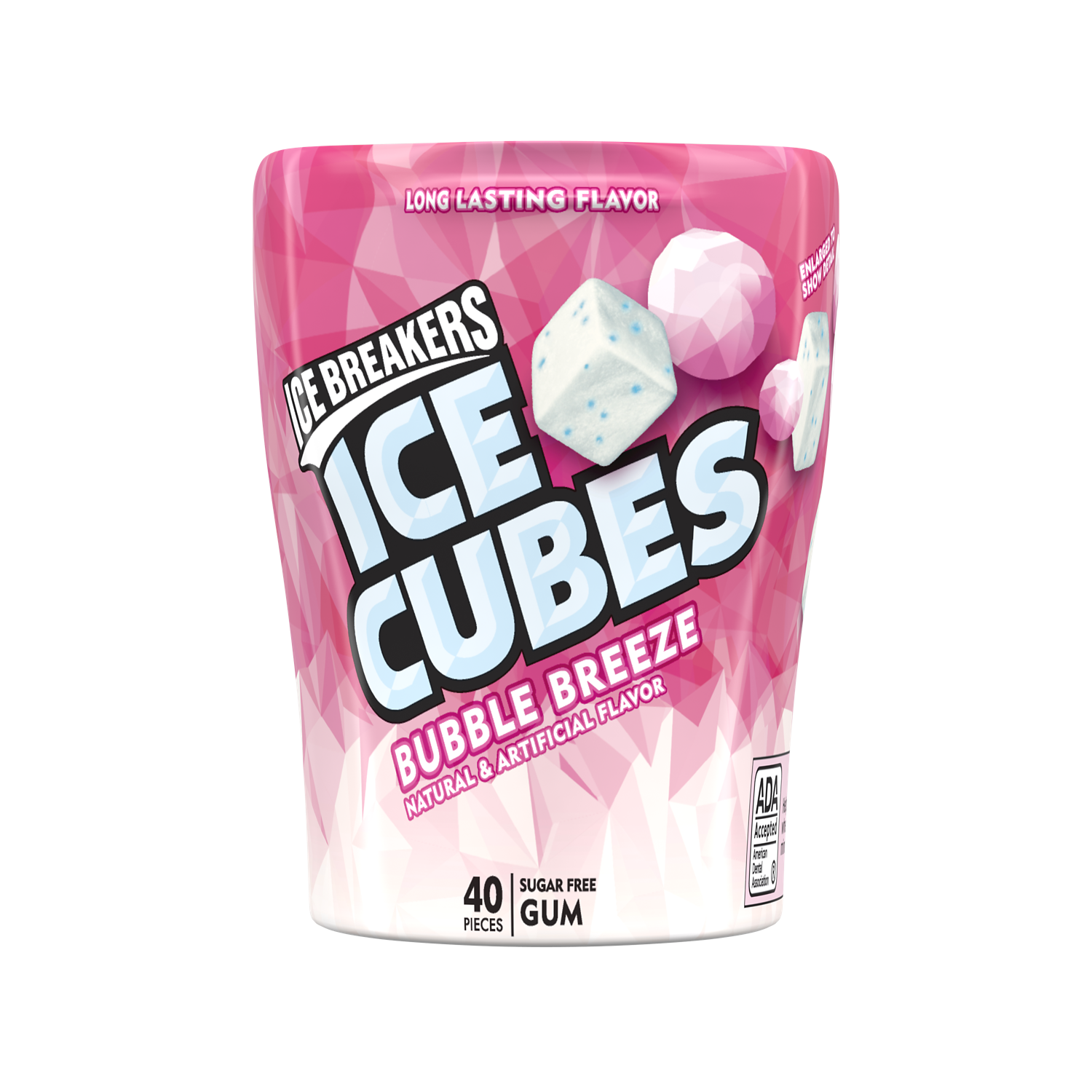 ICE BREAKERS ICE CUBES BUBBLE BREEZE Sugar Free Gum, 3.24 oz bottle, 40 pieces - Front of Package