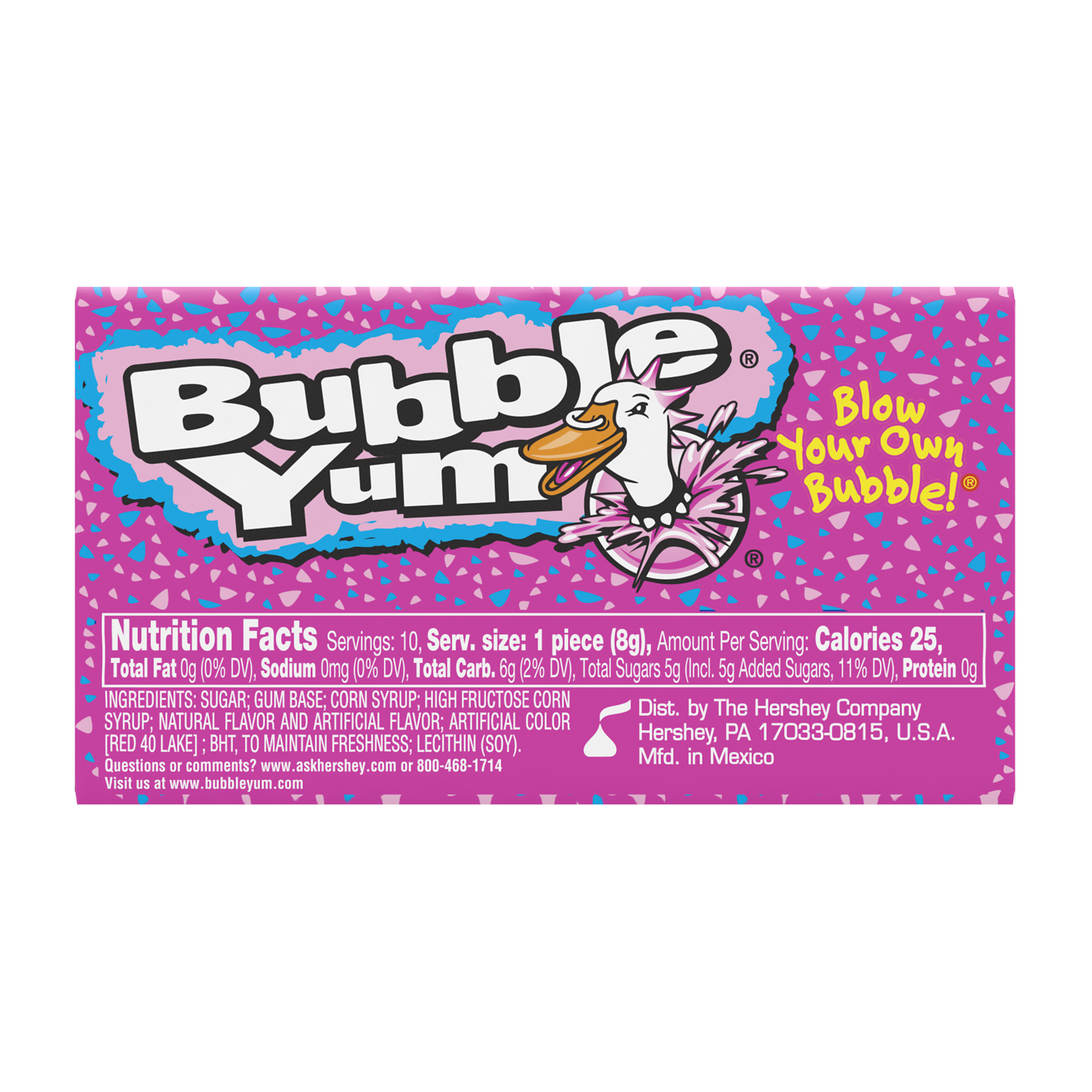 BUBBLE YUM Original Flavor Bubble Gum, 2.8 oz, 10 pieces - Back of Package
