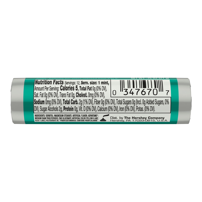 BREATH SAVERS Wintergreen Sugar Free Mints, 0.75 oz roll - Back of Package