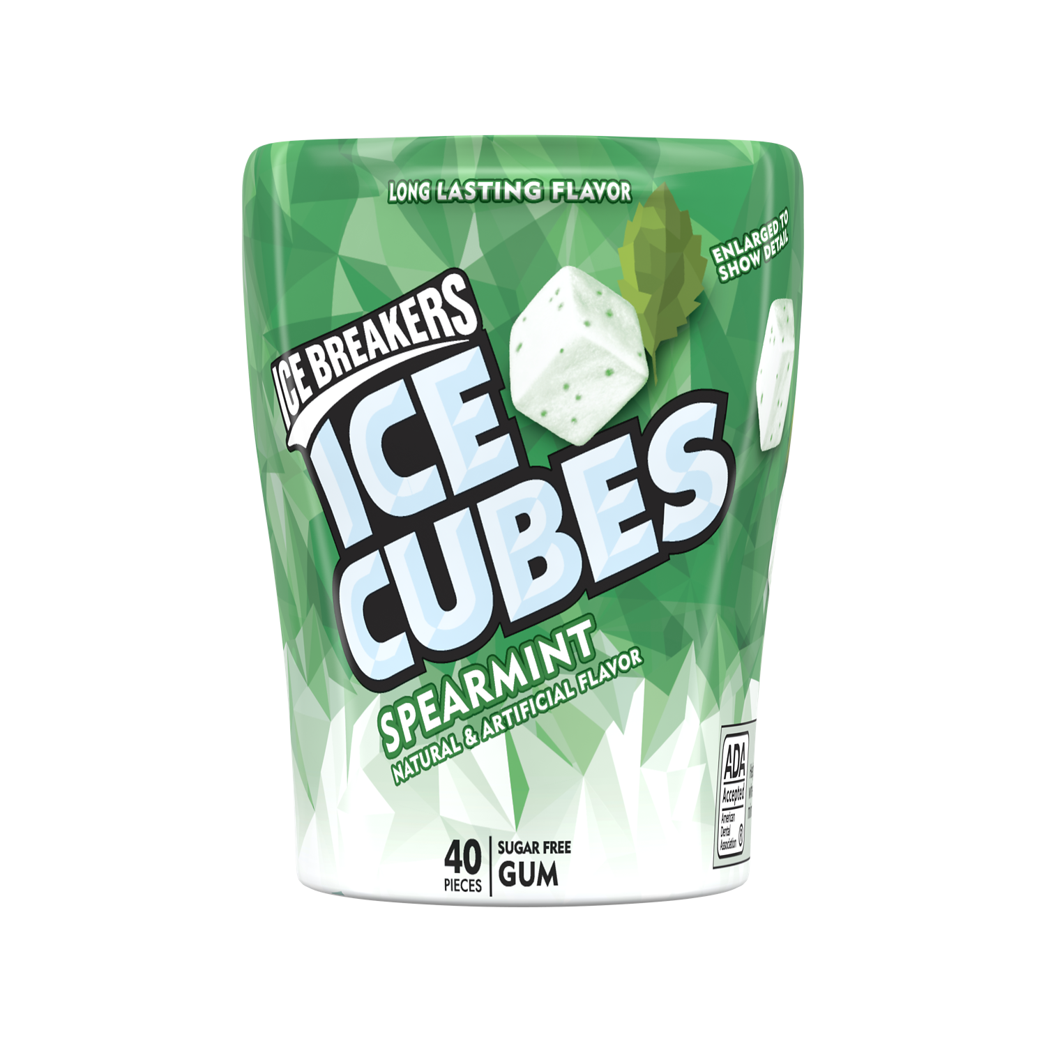 ICE BREAKERS ICE CUBES Spearmint Sugar Free Gum, 3.24 oz bottle, 40 pieces - Front of Package