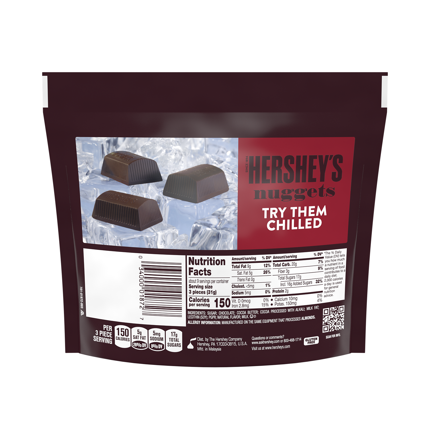 HERSHEY'S NUGGETS SPECIAL DARK Mildly Sweet Chocolate Candy, 10.2 oz pack - Back of Package