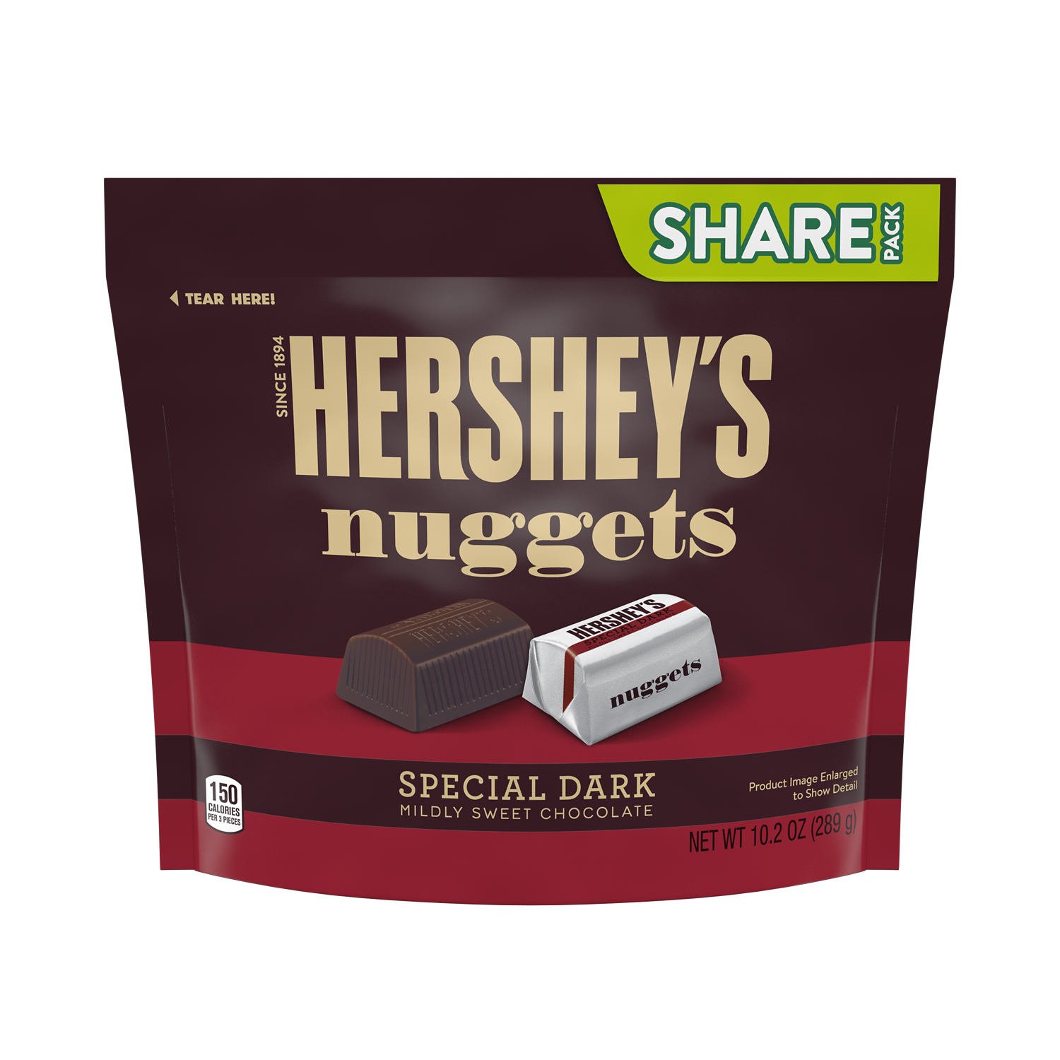 HERSHEY'S NUGGETS SPECIAL DARK Mildly Sweet Chocolate Candy, 10.2 oz pack - Front of Package
