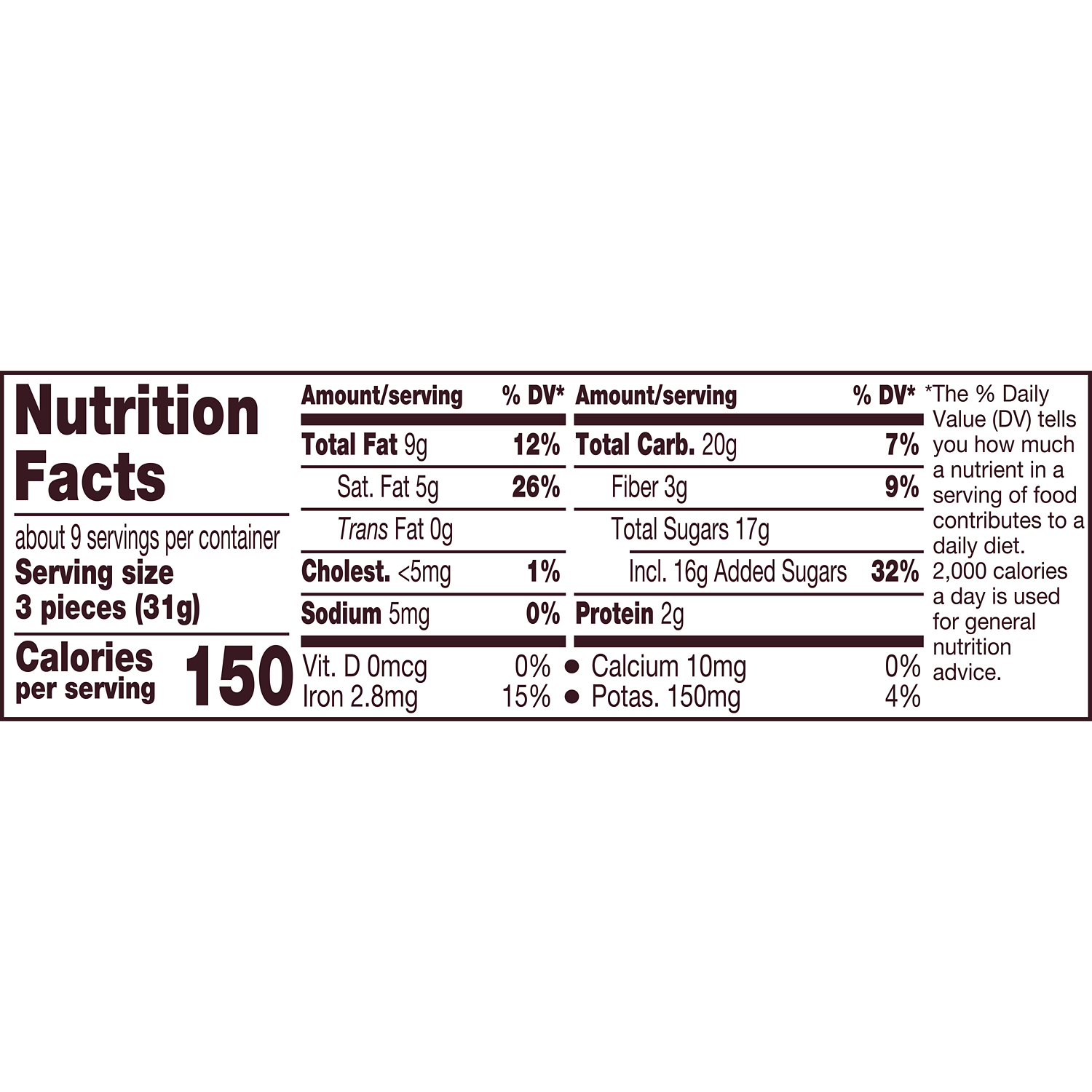 HERSHEY'S NUGGETS SPECIAL DARK Mildly Sweet Chocolate Candy, 10.2 oz pack - Nutritional Facts
