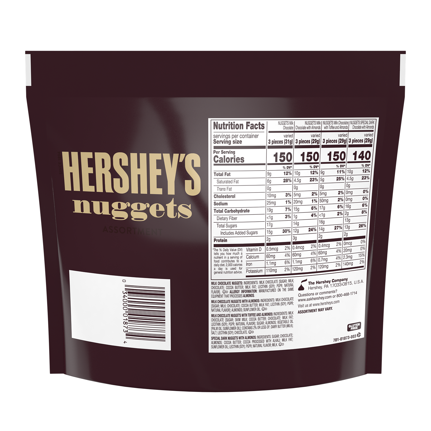 HERSHEY'S NUGGETS Assortment, 15.6 oz pack - Back of Package