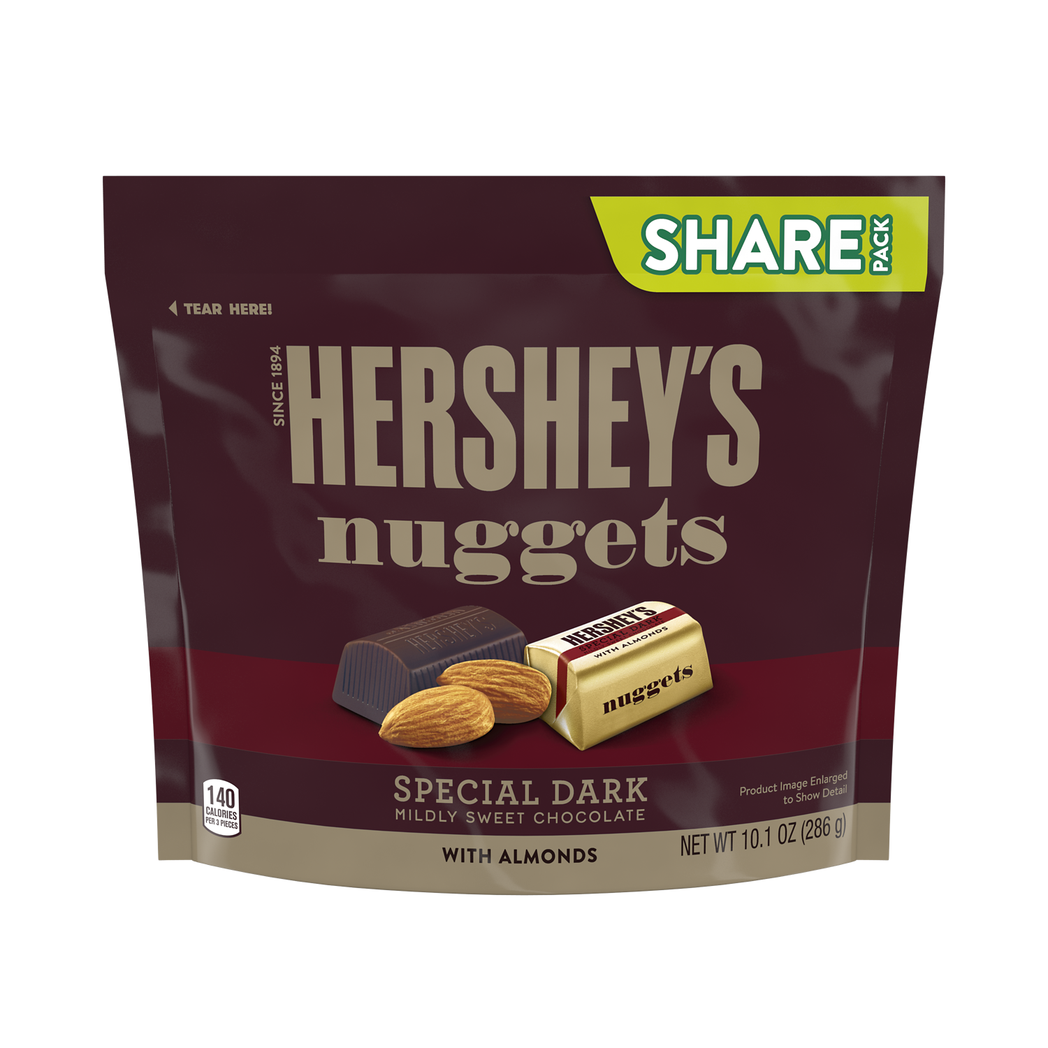 HERSHEY'S NUGGETS SPECIAL DARK Mildly Sweet Chocolate with Almonds Candy, 10.1 oz pack - Front of Package