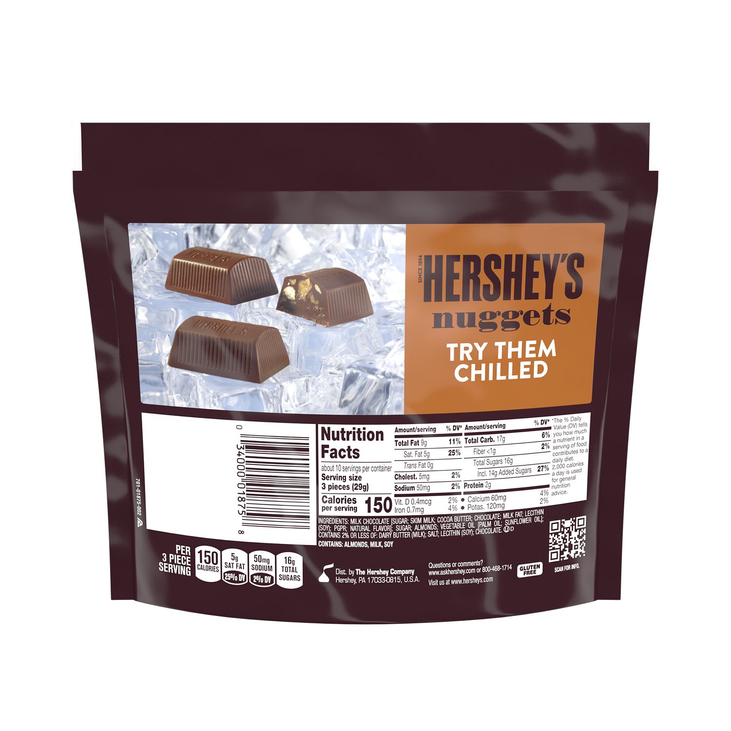 HERSHEY'S NUGGETS Extra Creamy Milk Chocolate with Toffee & Almonds Candy, 10.2 oz pack - Back of Package