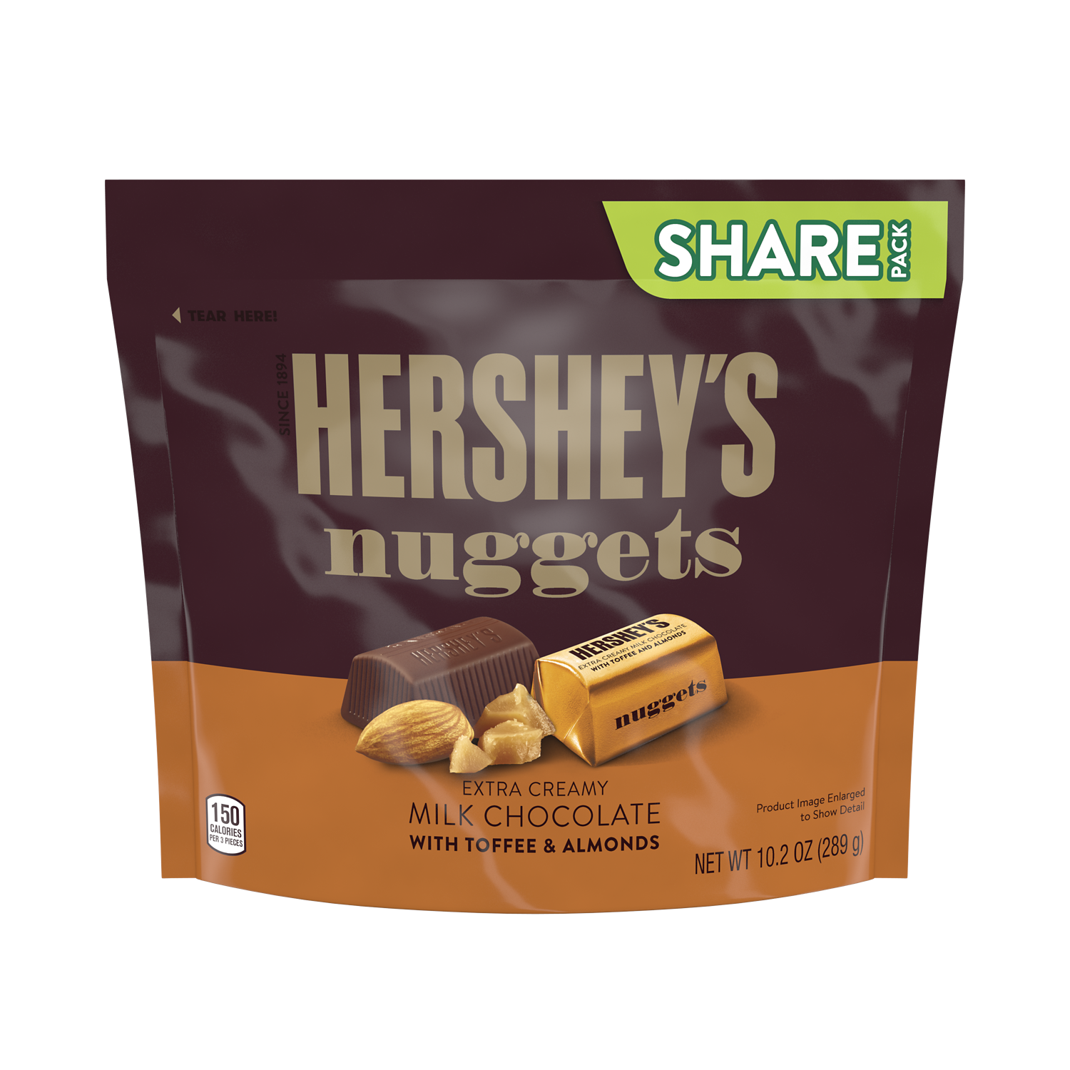 HERSHEY'S NUGGETS Extra Creamy Milk Chocolate with Toffee & Almonds Candy, 10.2 oz pack - Front of Package