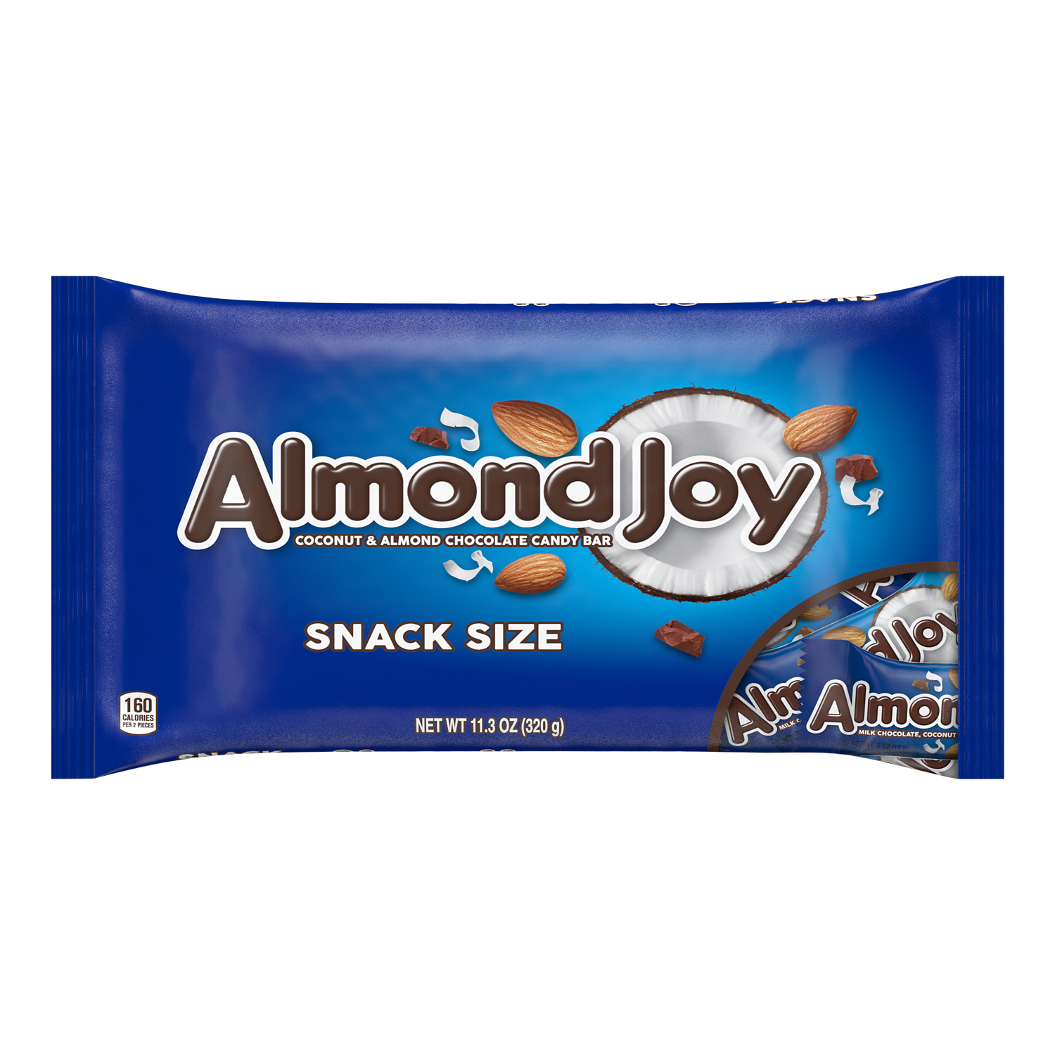 ALMOND JOY Coconut and Almond Chocolate Snack Size Candy Bars, 11.3 oz bag - Front of Package