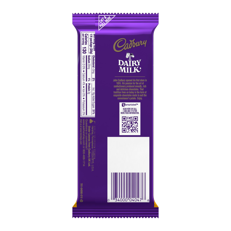 CADBURY DAIRY MILK CARAMELLO Caramel and Milk Chocolate Candy Bar, 4 oz - Back of Package