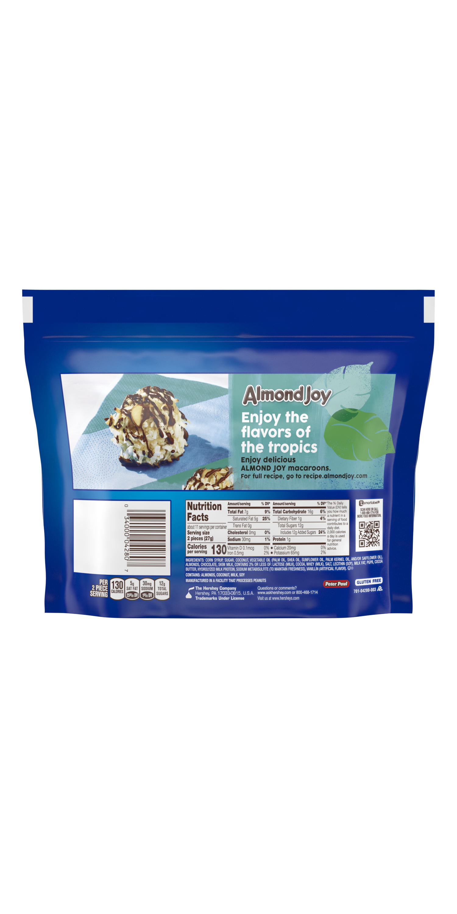 ALMOND JOY Miniatures Coconut and Almond Chocolate Candy Bars, 10.2 oz pack - Back of Package