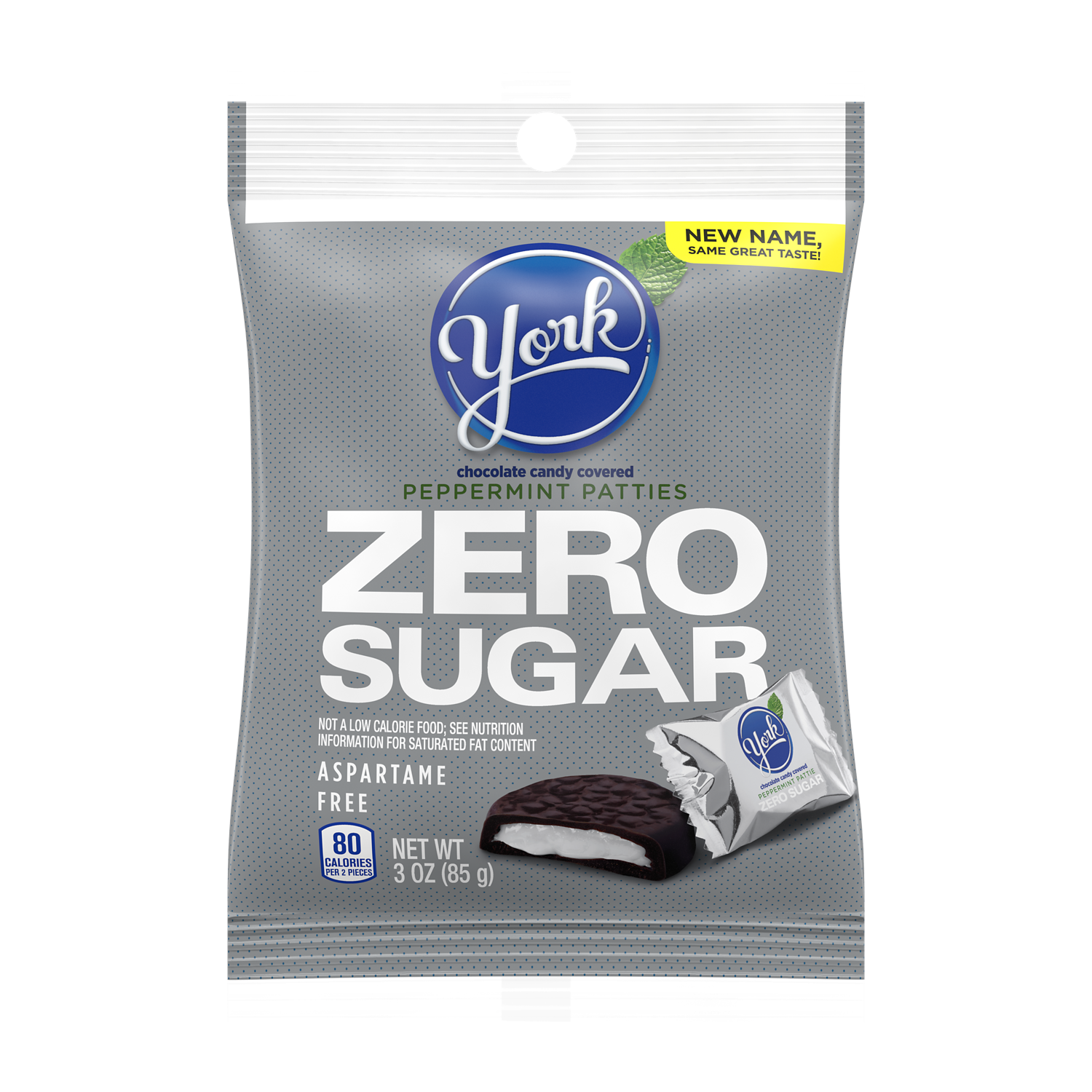 YORK Zero Sugar Dark Chocolate Candy Peppermint Patties, 3 oz bag - Front of Package