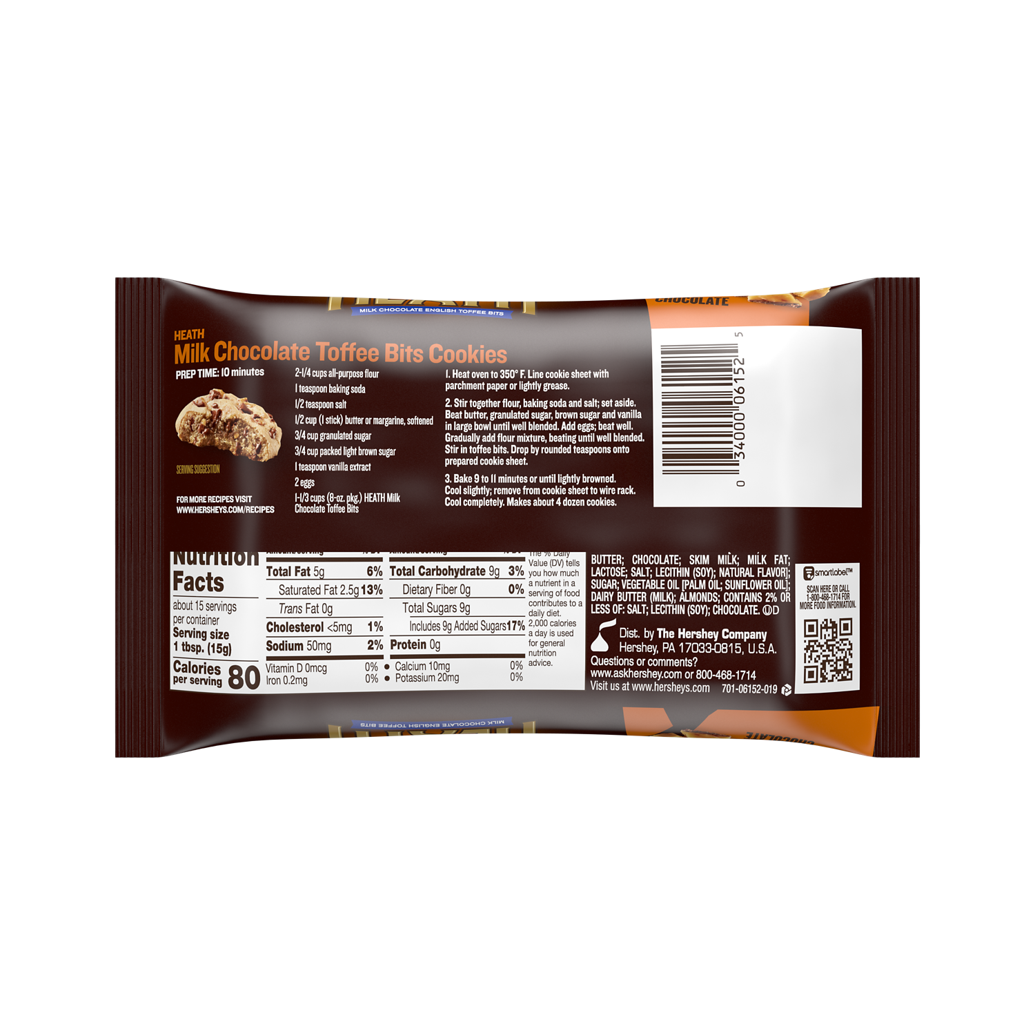 HEATH Milk Chocolate English Toffee Bits, 8 oz bag - Back of Package