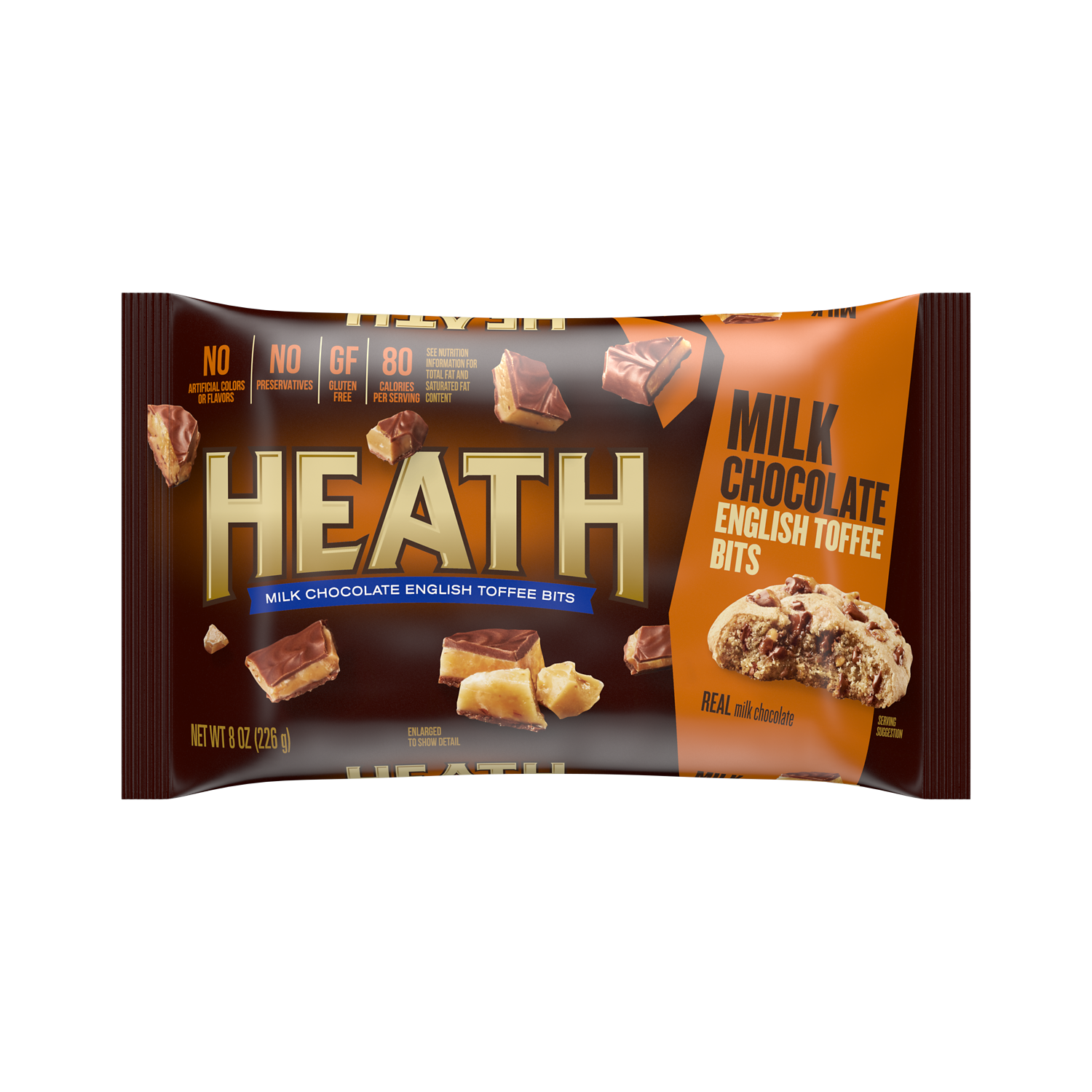 HEATH Milk Chocolate English Toffee Bits, 8 oz bag - Front of Package