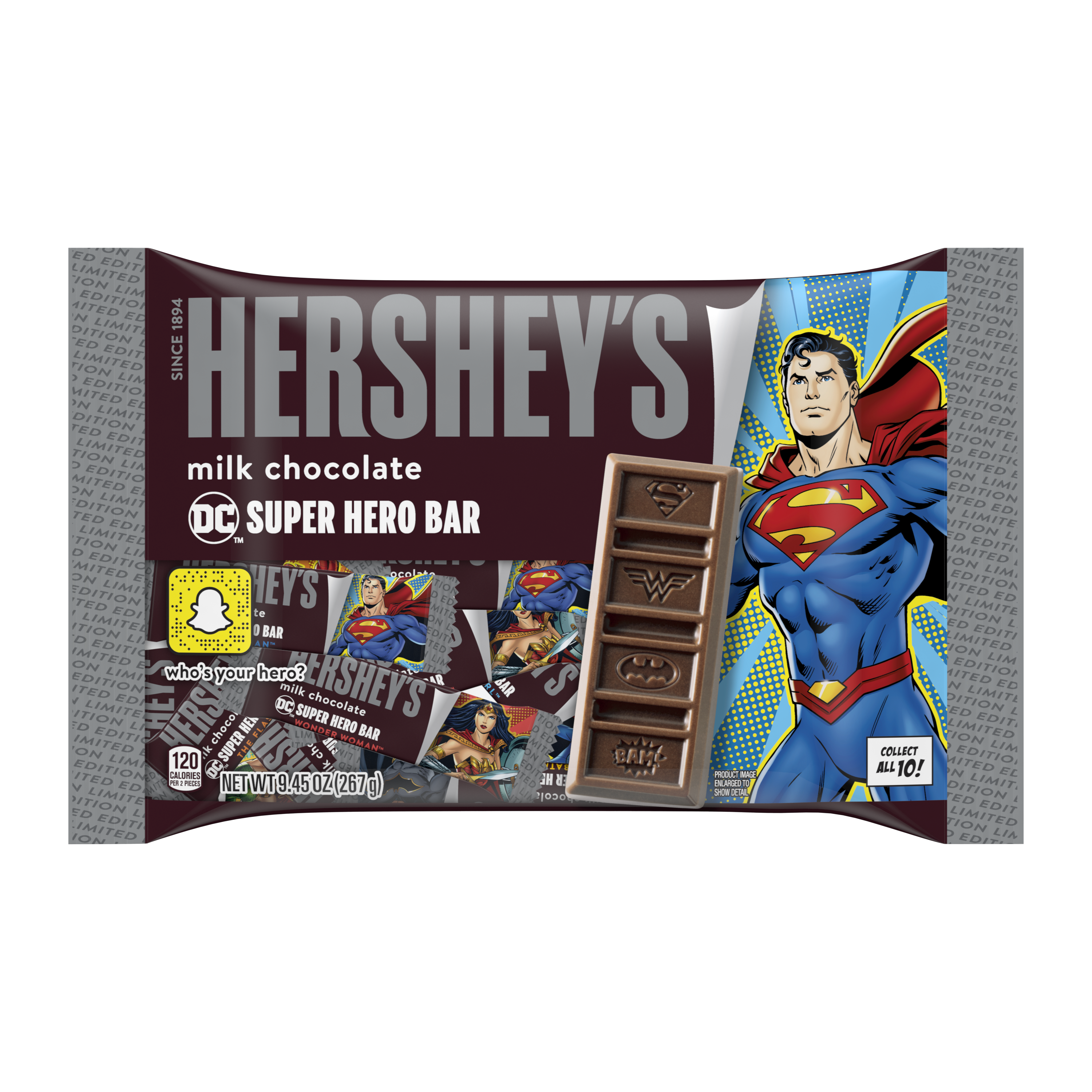 HERSHEY'S Milk Chocolate DC Super Hero Snack Size Candy Bars, 9.45 oz - Front of Package