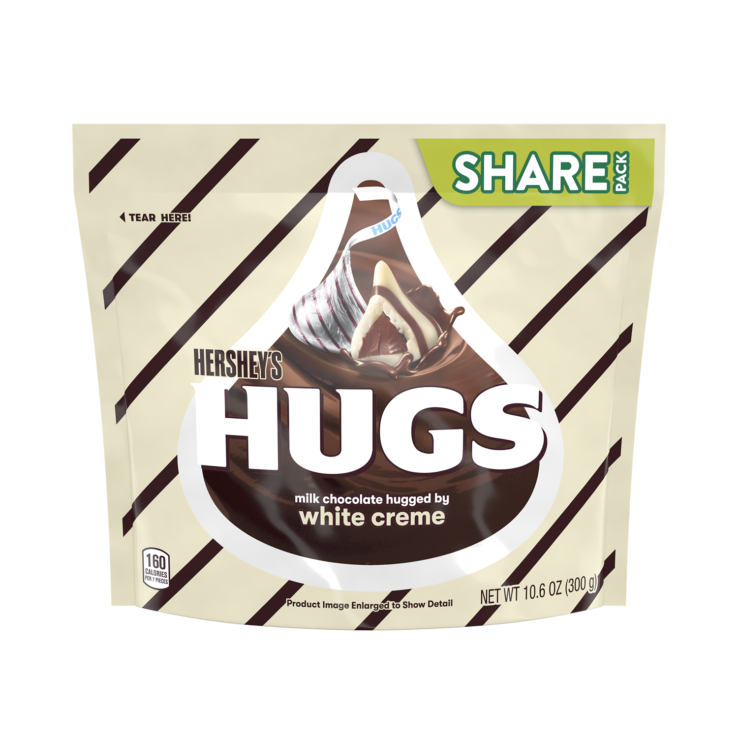 HERSHEY'S HUGS Milk Chocolate and White Creme Candy, 10.6 oz pack - Front of Package