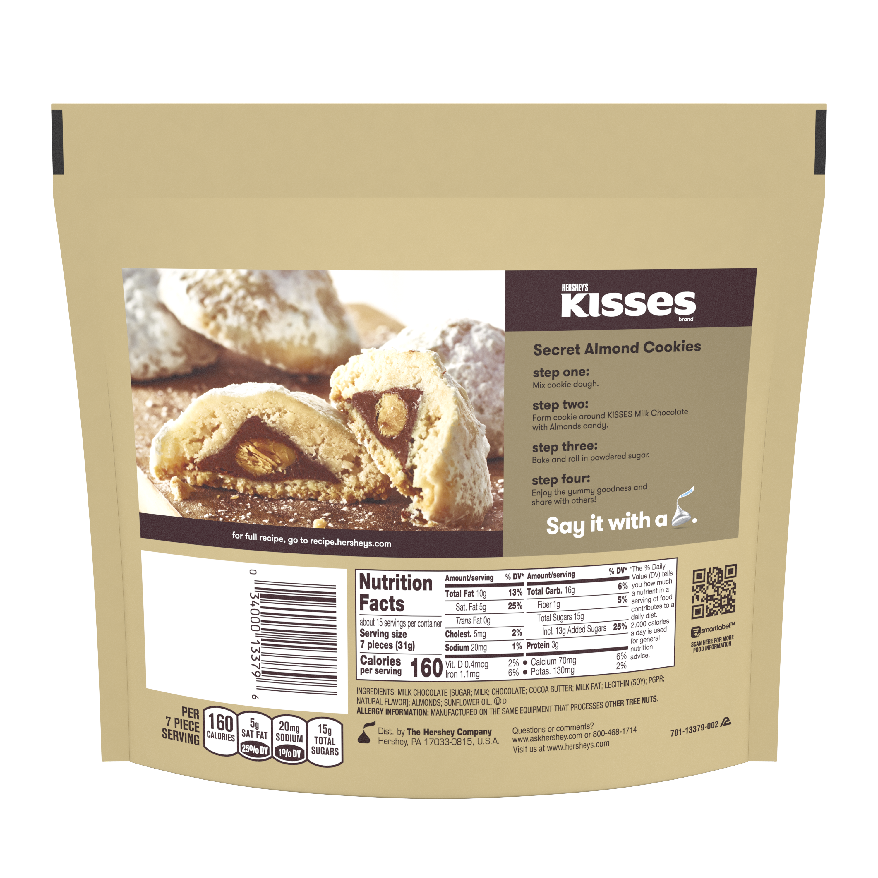 HERSHEY'S KISSES Milk Chocolate with Almonds Candy, 16 oz pack - Back of Package
