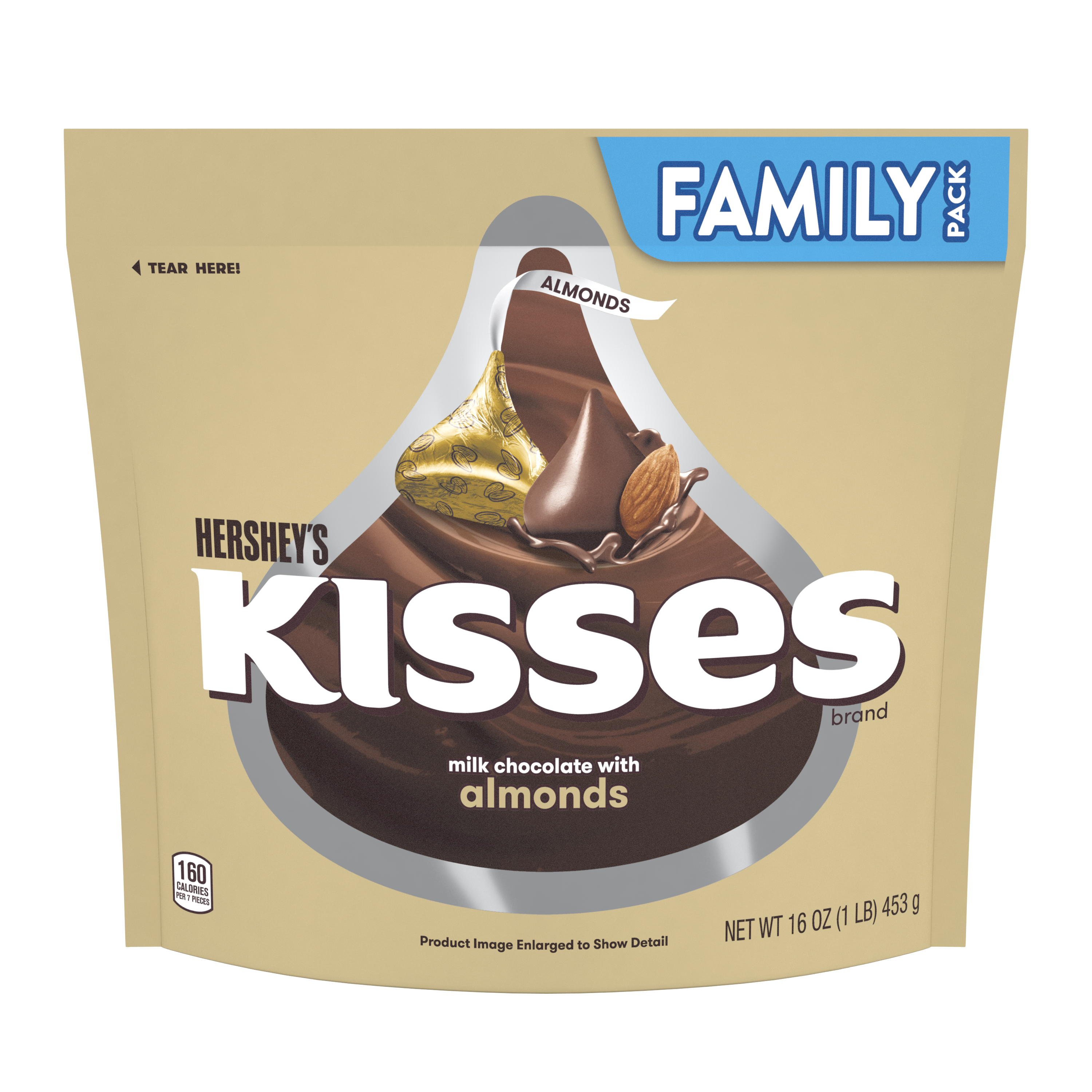 HERSHEY'S KISSES Milk Chocolate with Almonds Candy, 16 oz pack - Front of Package