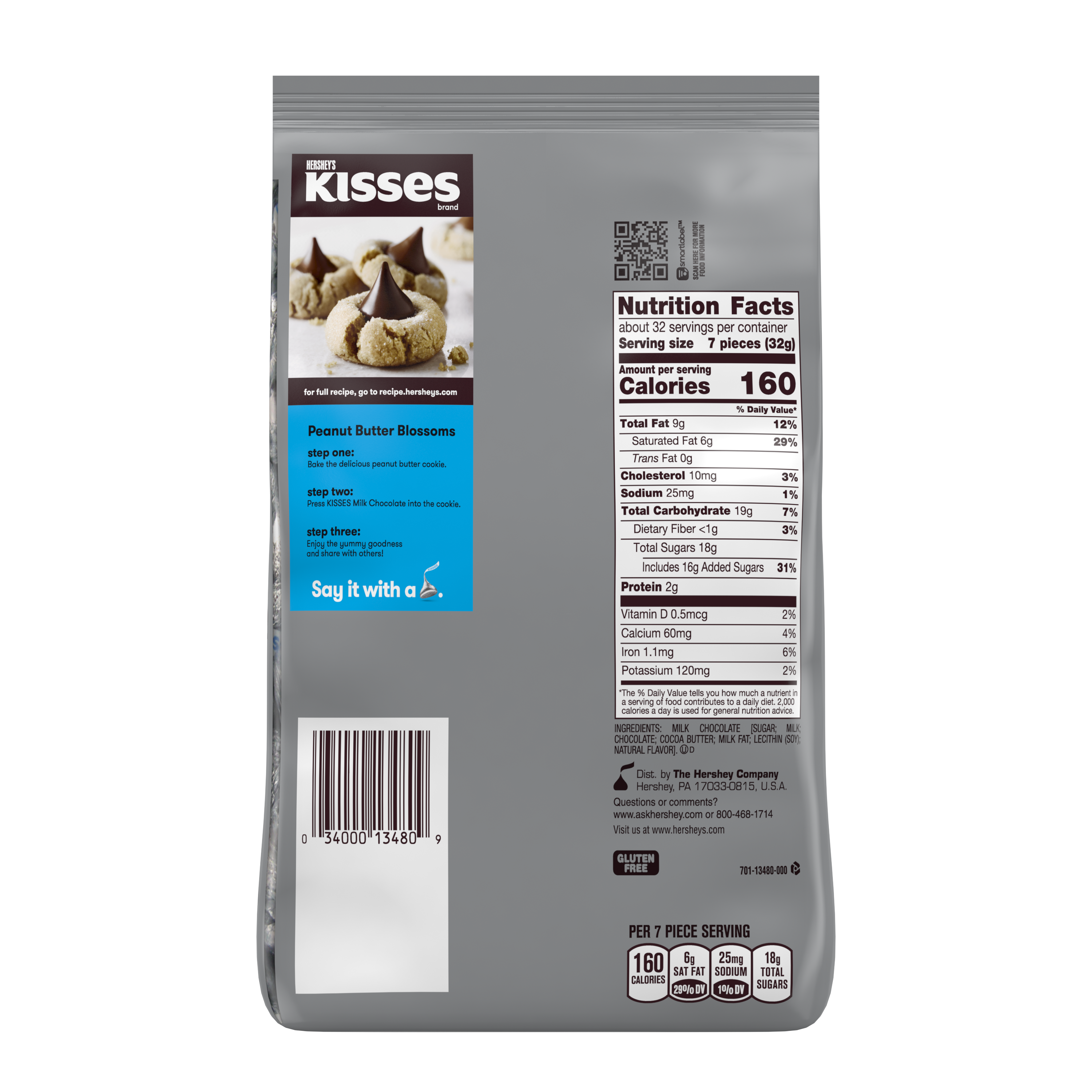 HERSHEY'S KISSES Milk Chocolate Candy, 35.8 oz pack - Back of Package