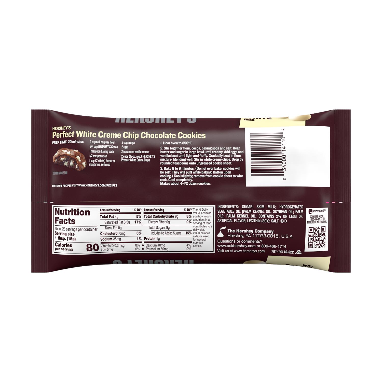 HERSHEY'S Premier White Creme Chips, 12 oz bag - Back of Package