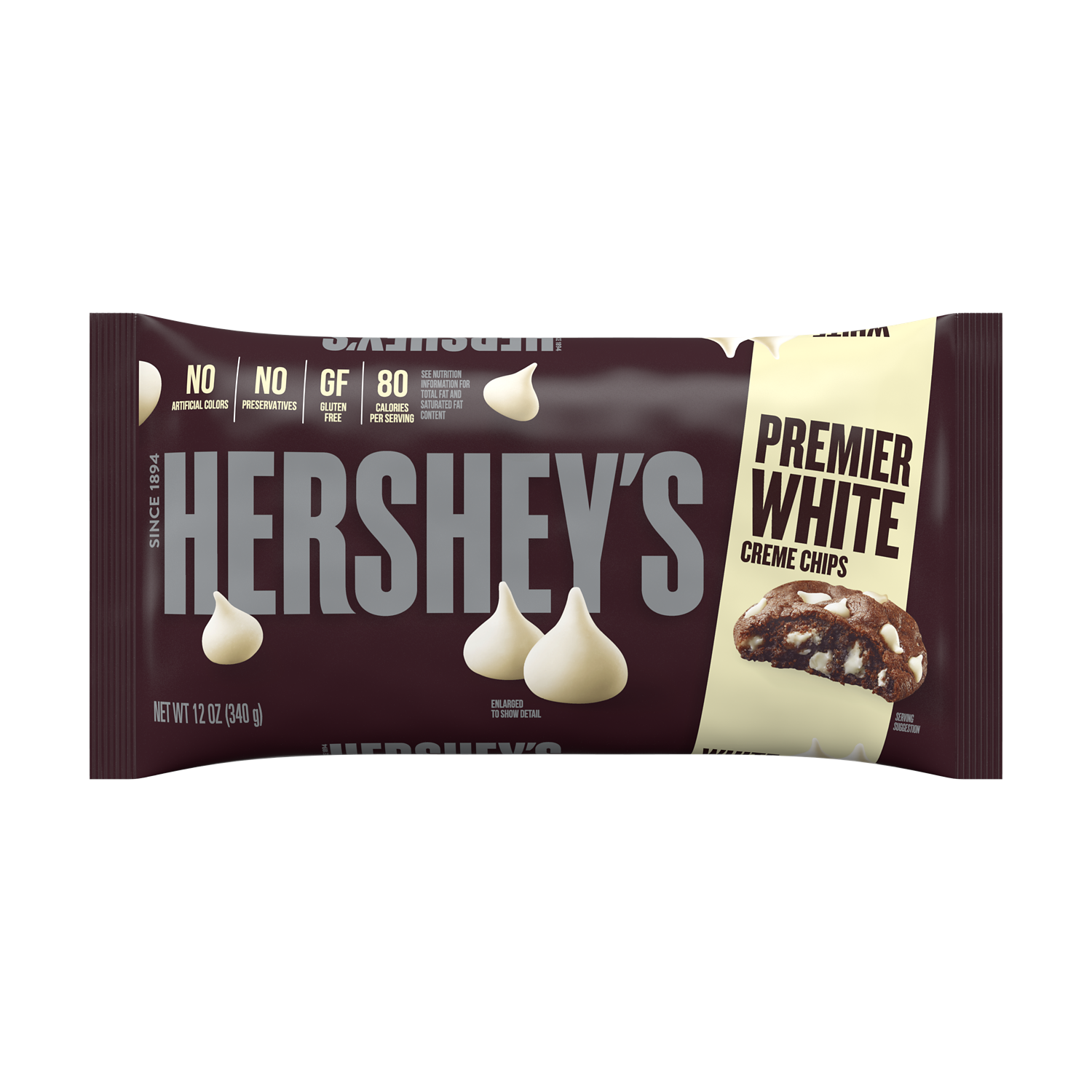 HERSHEY'S Premier White Creme Chips, 12 oz bag - Front of Package