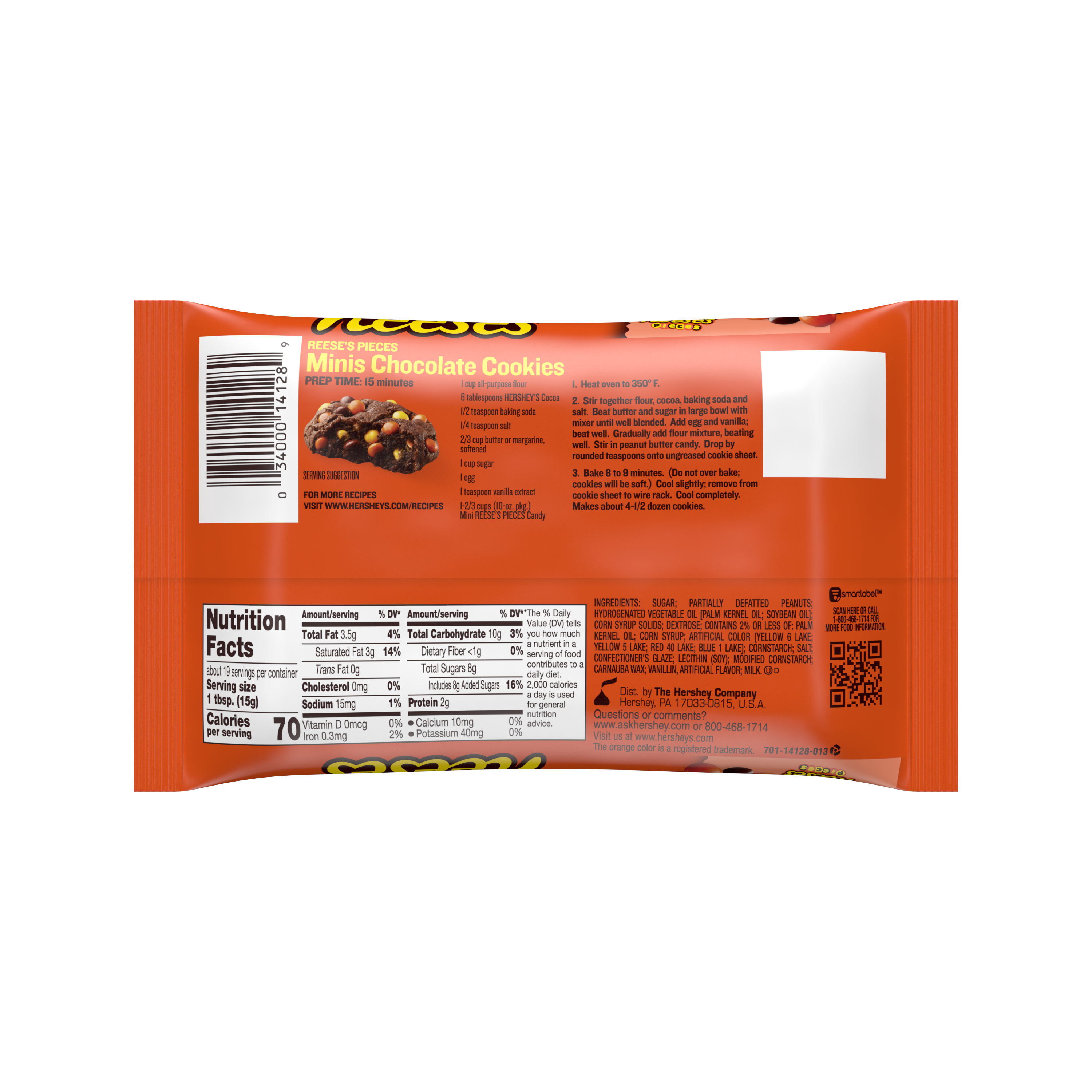 REESE'S PIECES Minis Milk Chocolate Peanut Butter Chips, 10 oz bag - Back of Package - Back of Package