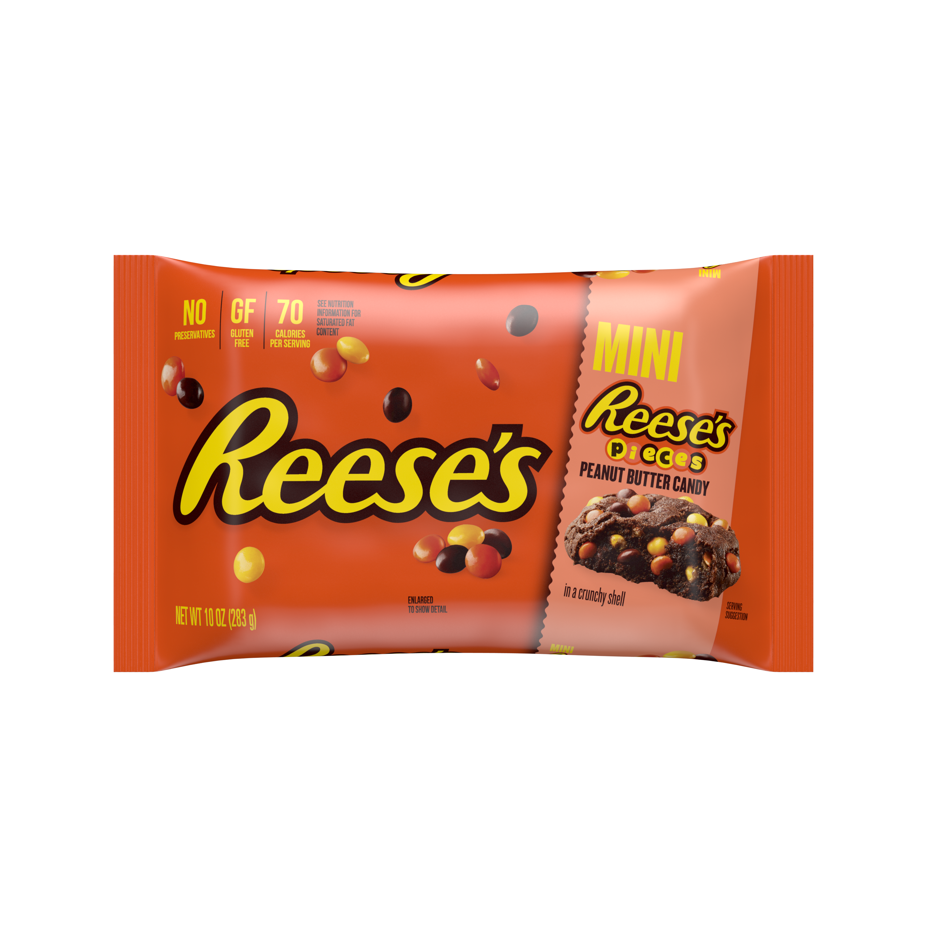 REESE'S PIECES Minis Milk Chocolate Peanut Butter Chips, 10 oz bag - Front of Package