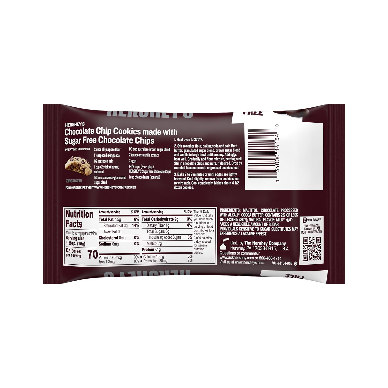 HERSHEY'S Sugar Free Chocolate Chips, 8 oz bag - Back of Package