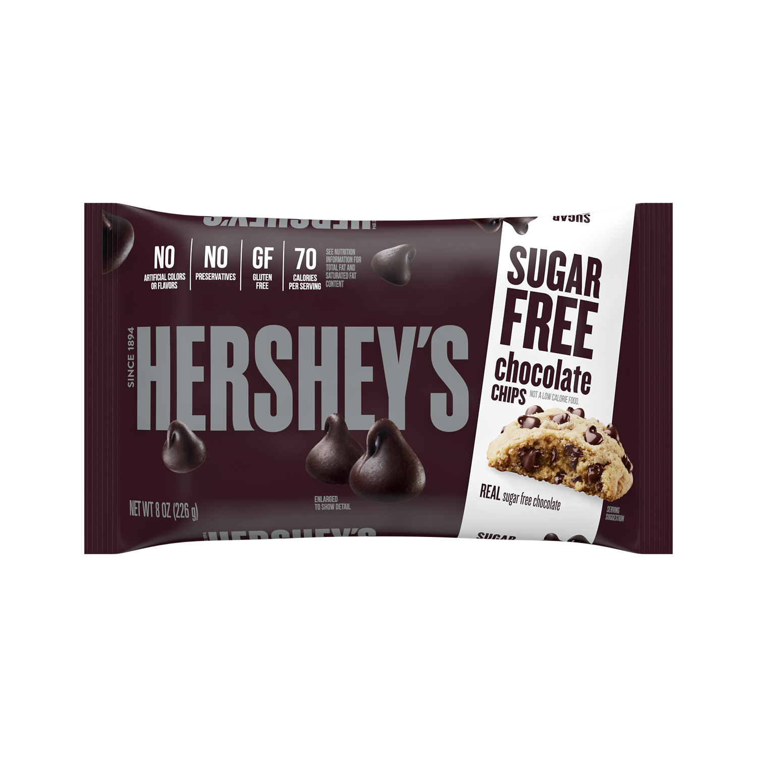 HERSHEY'S Sugar Free Chocolate Chips, 8 oz bag - Front of Package