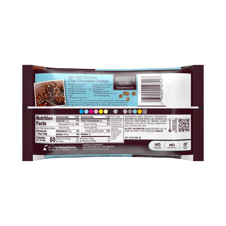 HERSHEY'S Sea Salt Caramel Baking Chips, 10 oz bag - Back of Package