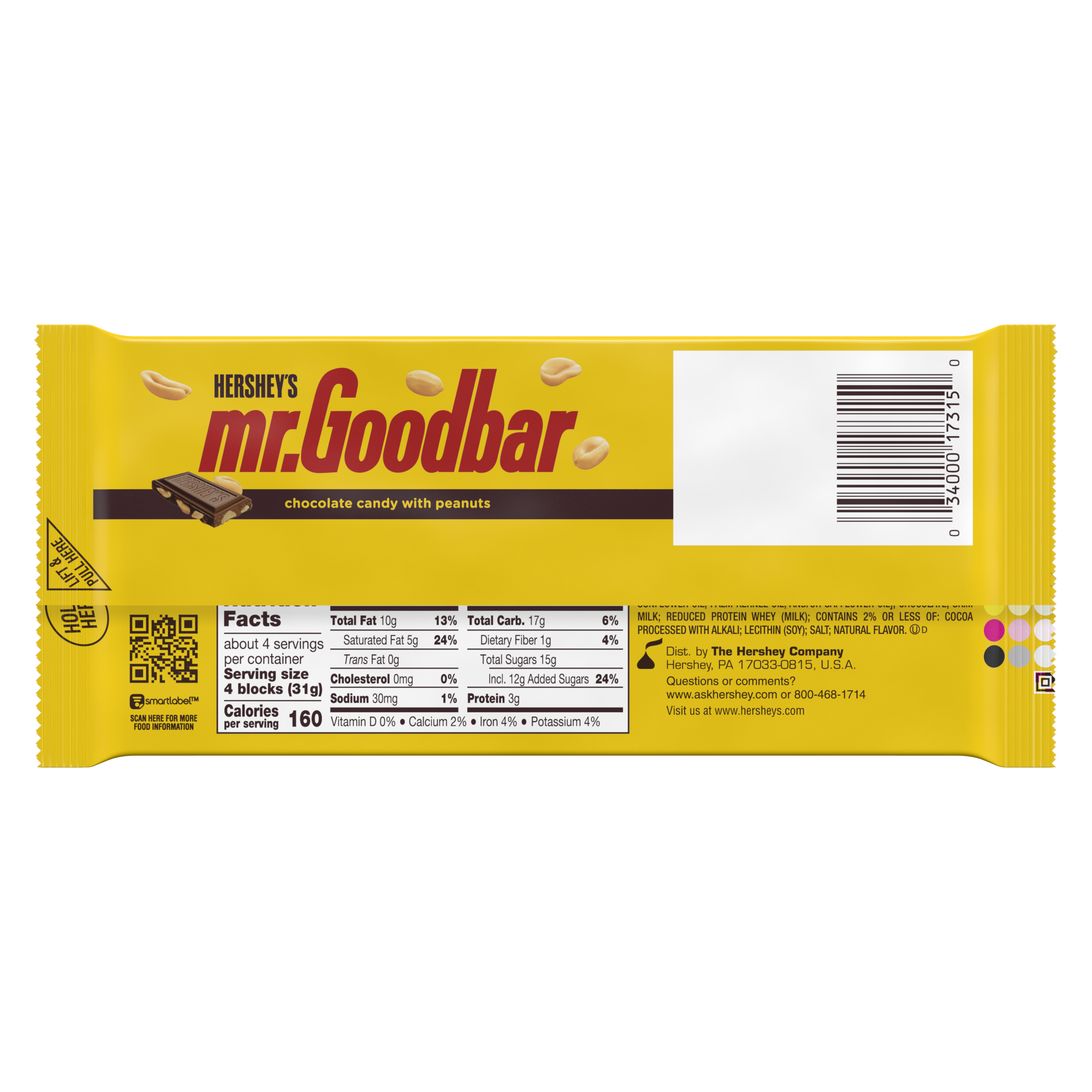 HERSHEY'S MR. GOODBAR Milk Chocolate with Peanuts XL Candy Bar, 4.4 oz - Back of Package
