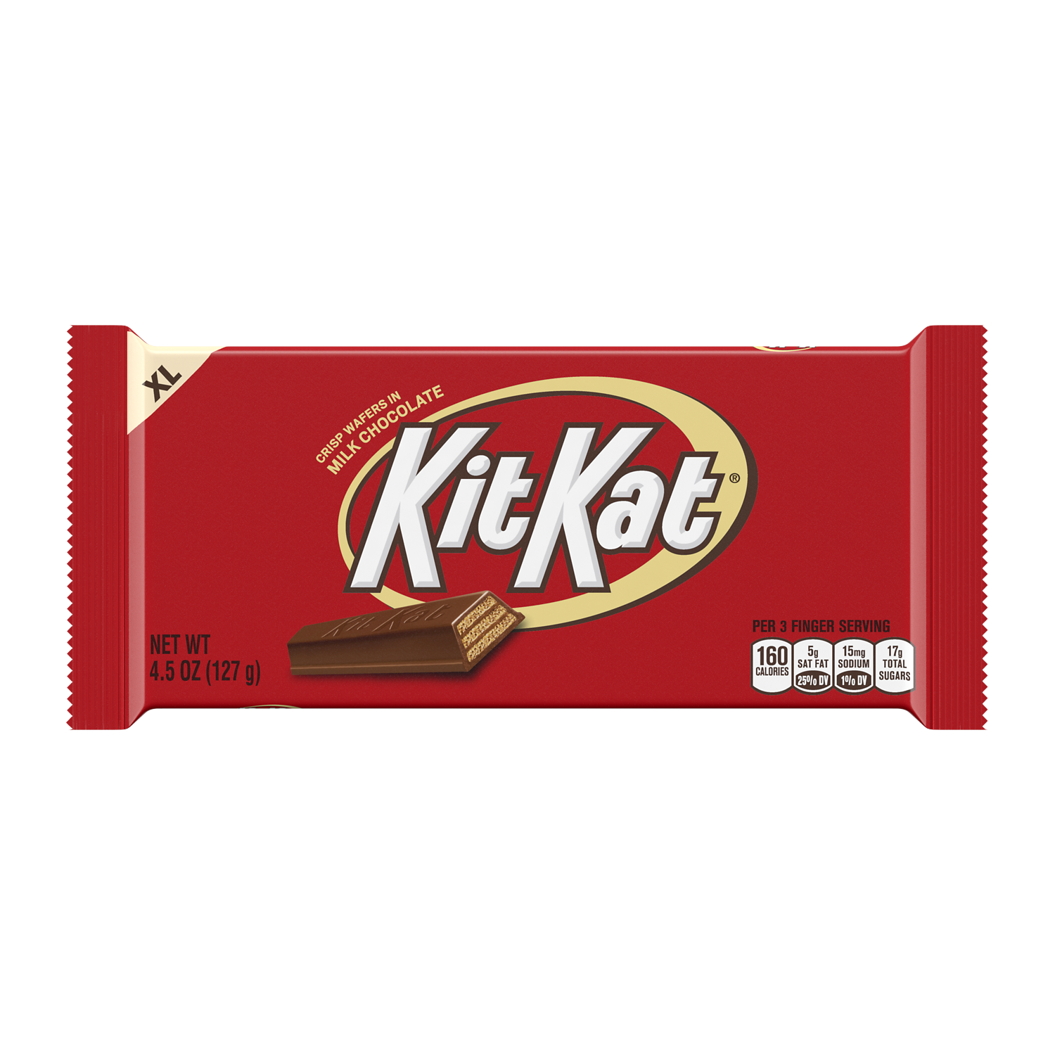 KIT KAT® Milk Chocolate XL Candy Bar, 4.5 oz - Front of Package