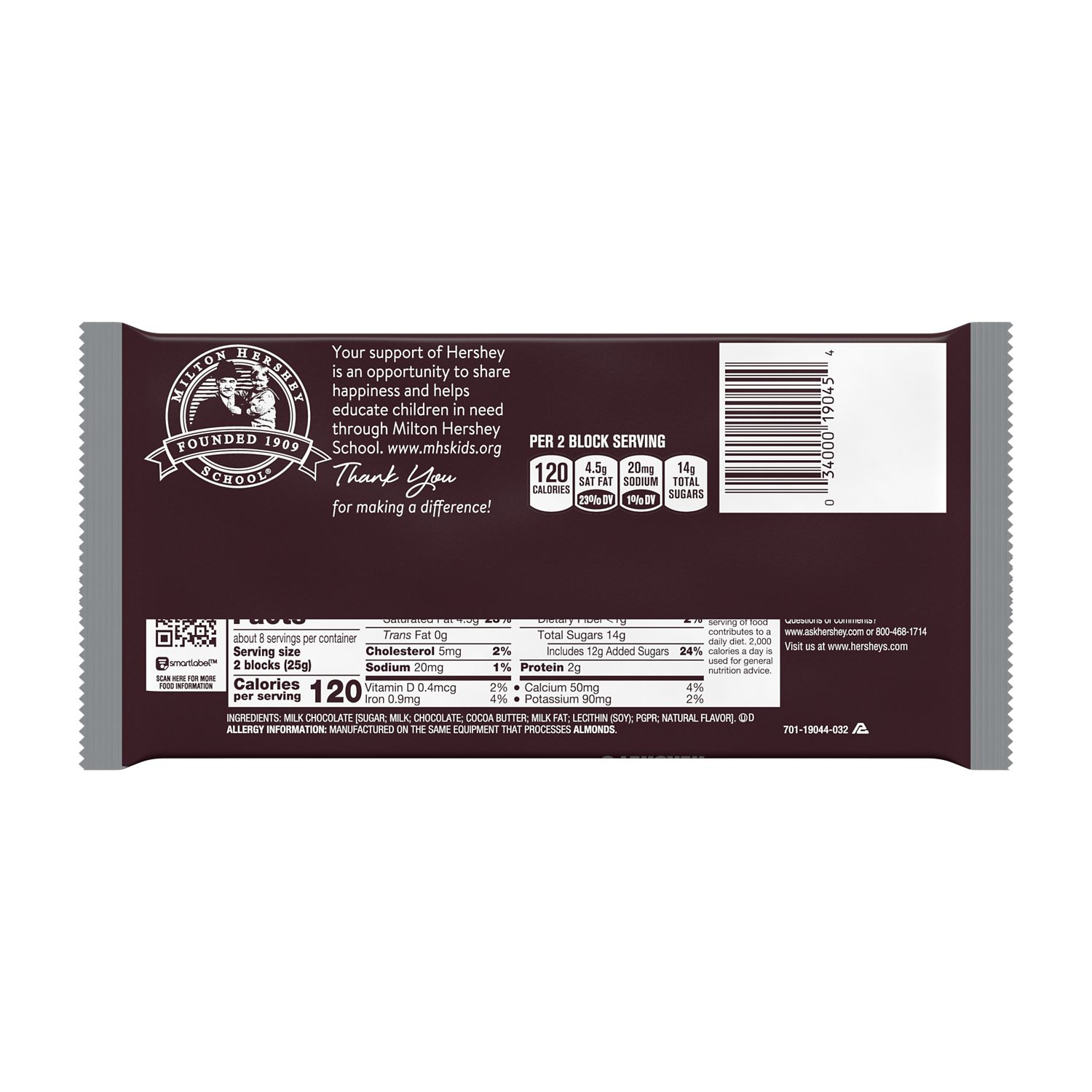 HERSHEY'S Milk Chocolate Giant Candy Bar, 7 oz - Back of Package