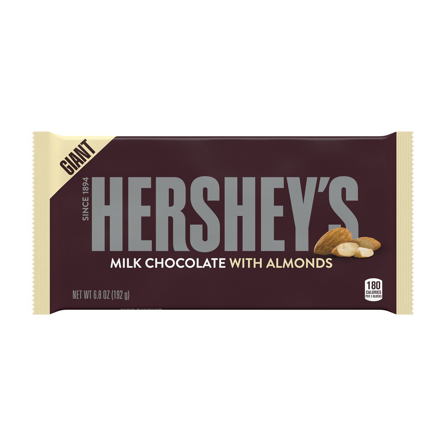 HERSHEY'S Milk Chocolate with Almonds Giant Candy Bar, 6.8 oz - Front of Package