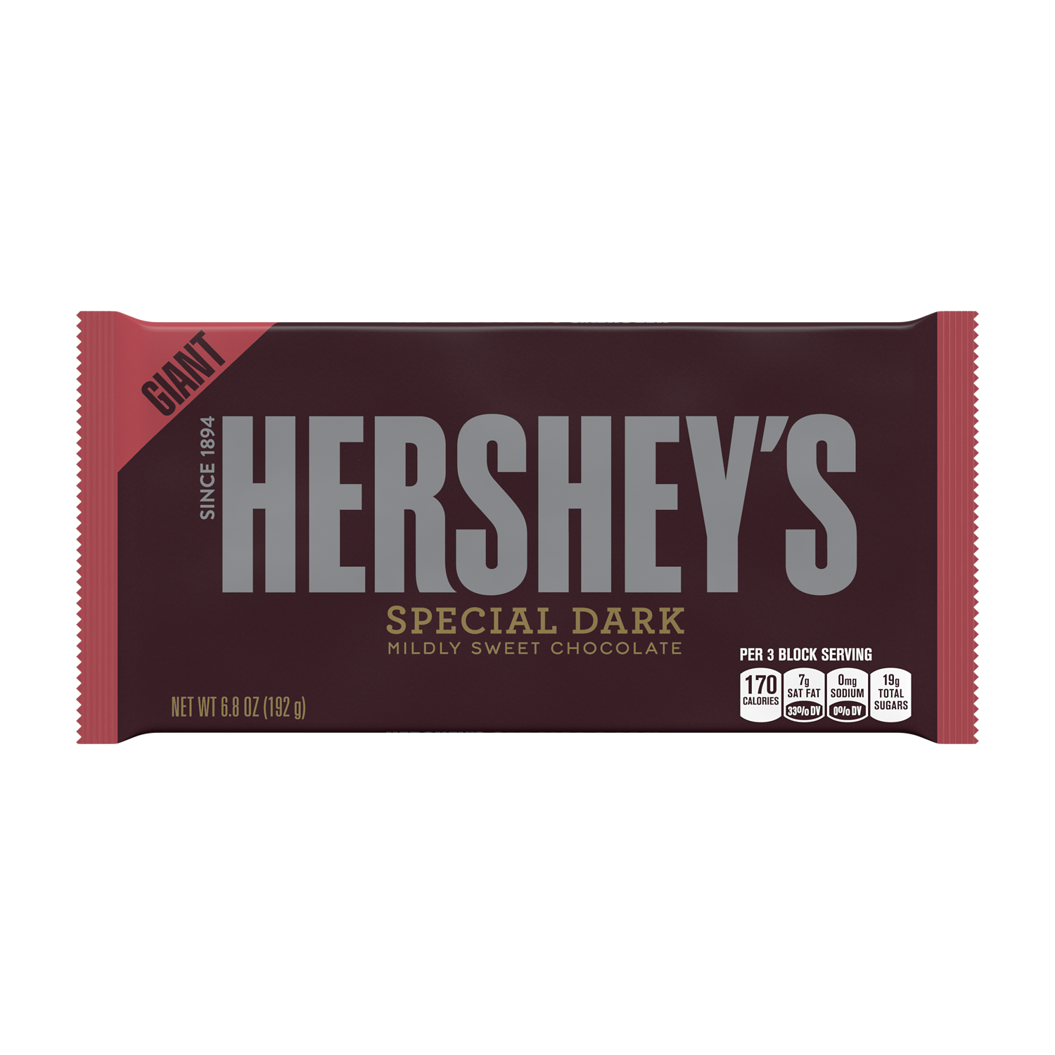 HERSHEY'S SPECIAL DARK Mildly Sweet Chocolate Giant Candy Bar, 6.8 oz - Front of Package