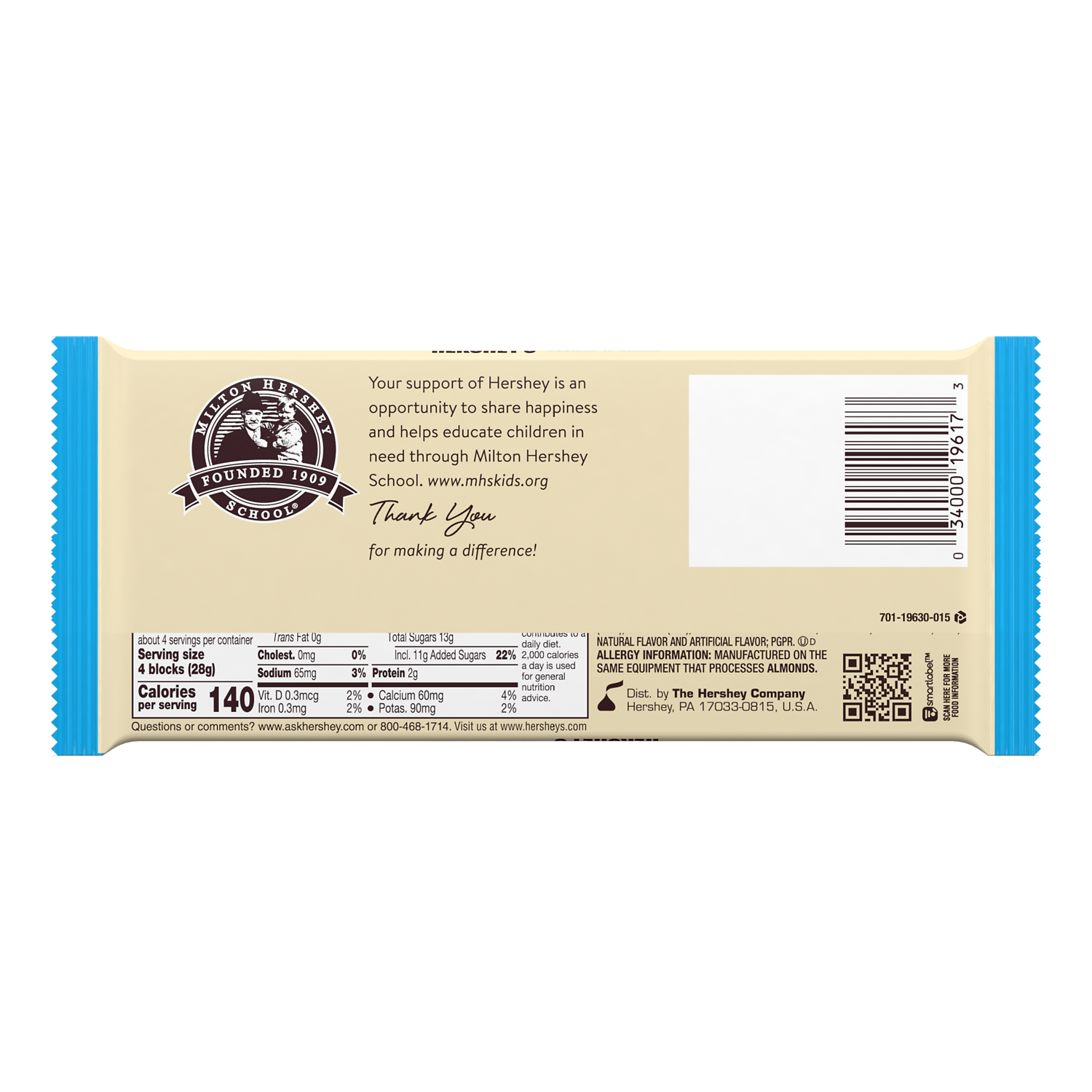 HERSHEY'S COOKIES 'N' CREME XL Candy Bar, 4 oz - Back of Package