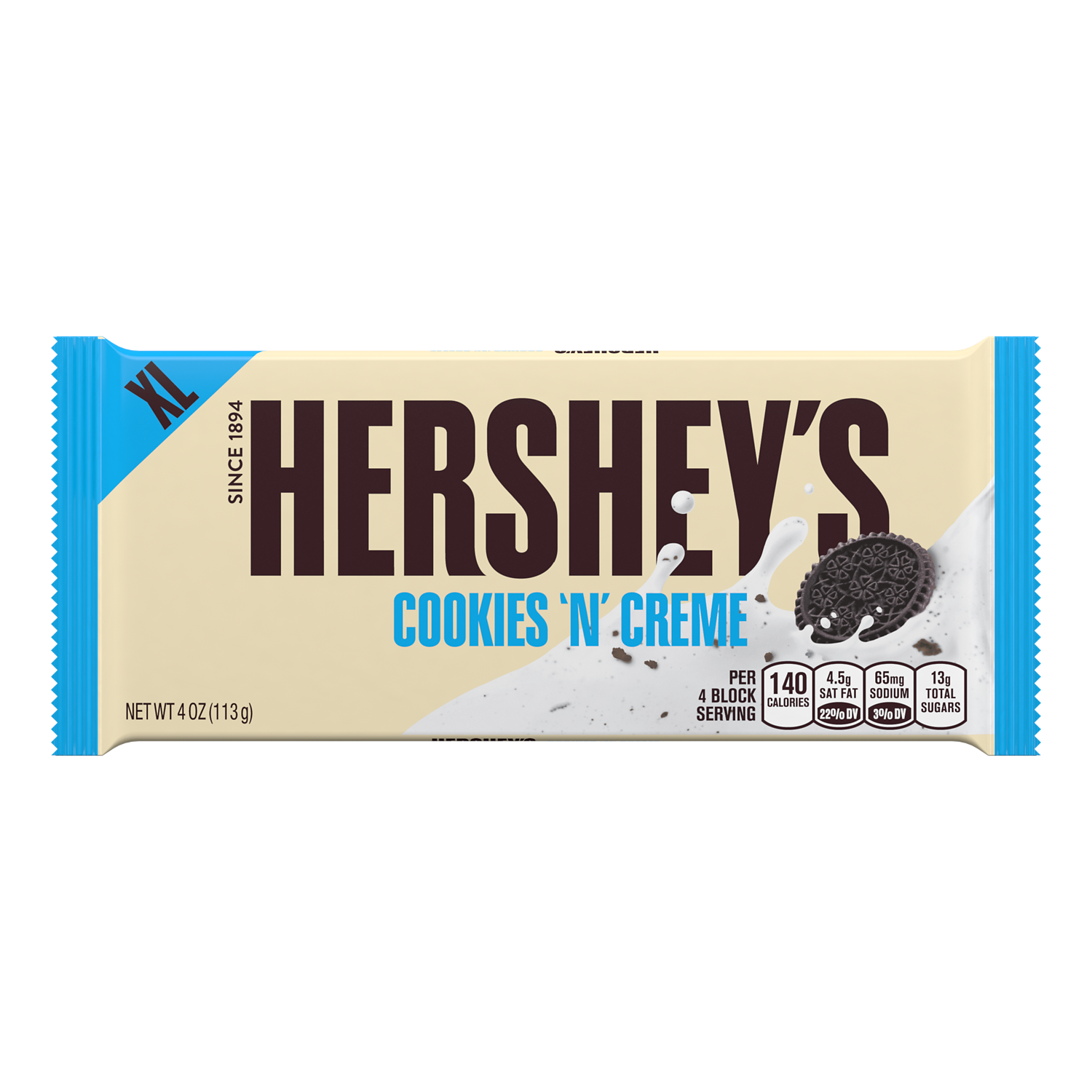HERSHEY'S COOKIES 'N' CREME XL Candy Bar, 4 oz - Front of Package