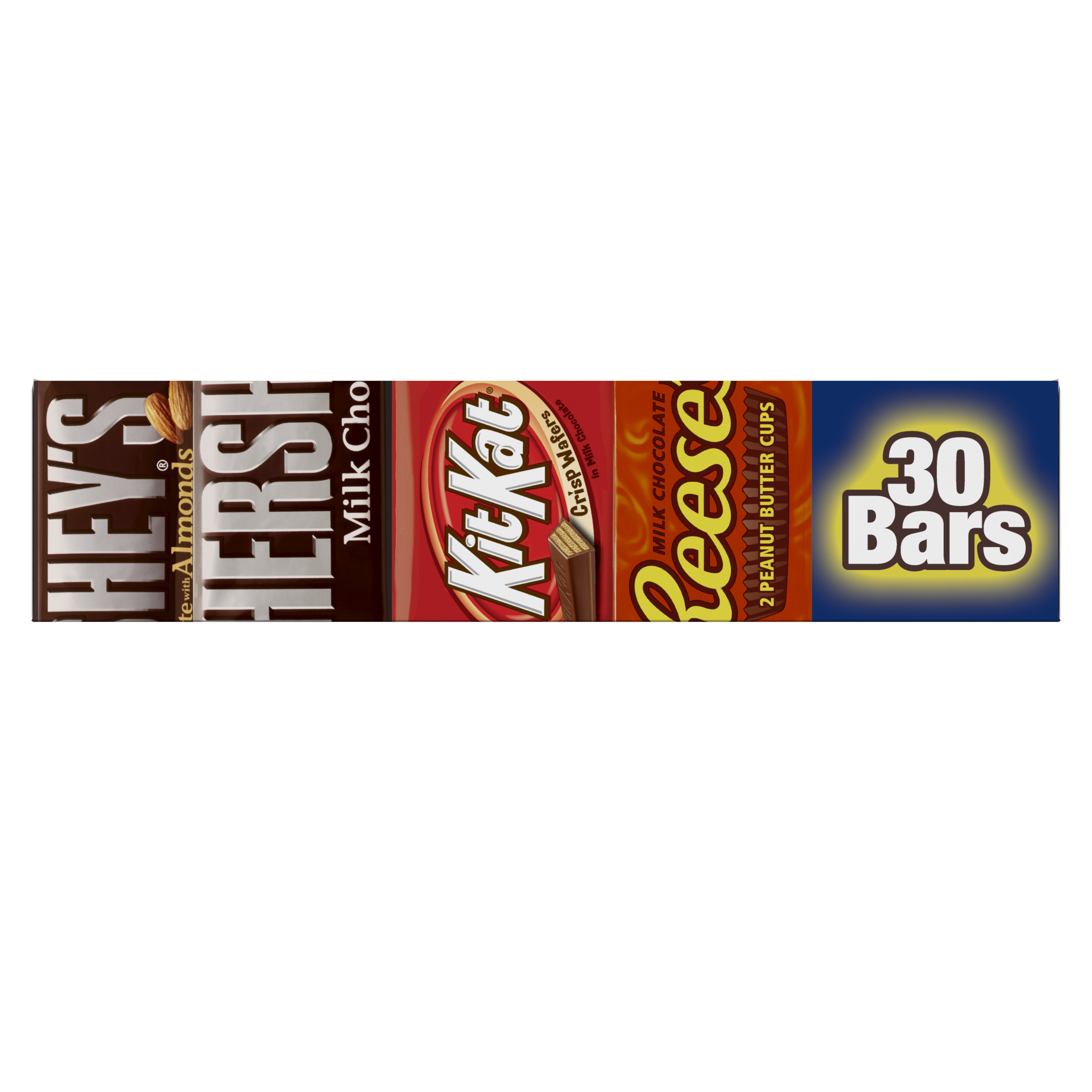 Hershey Variety Pack Milk Chocolate Candy Bars, 45 oz box, 30 bars - Front of Package
