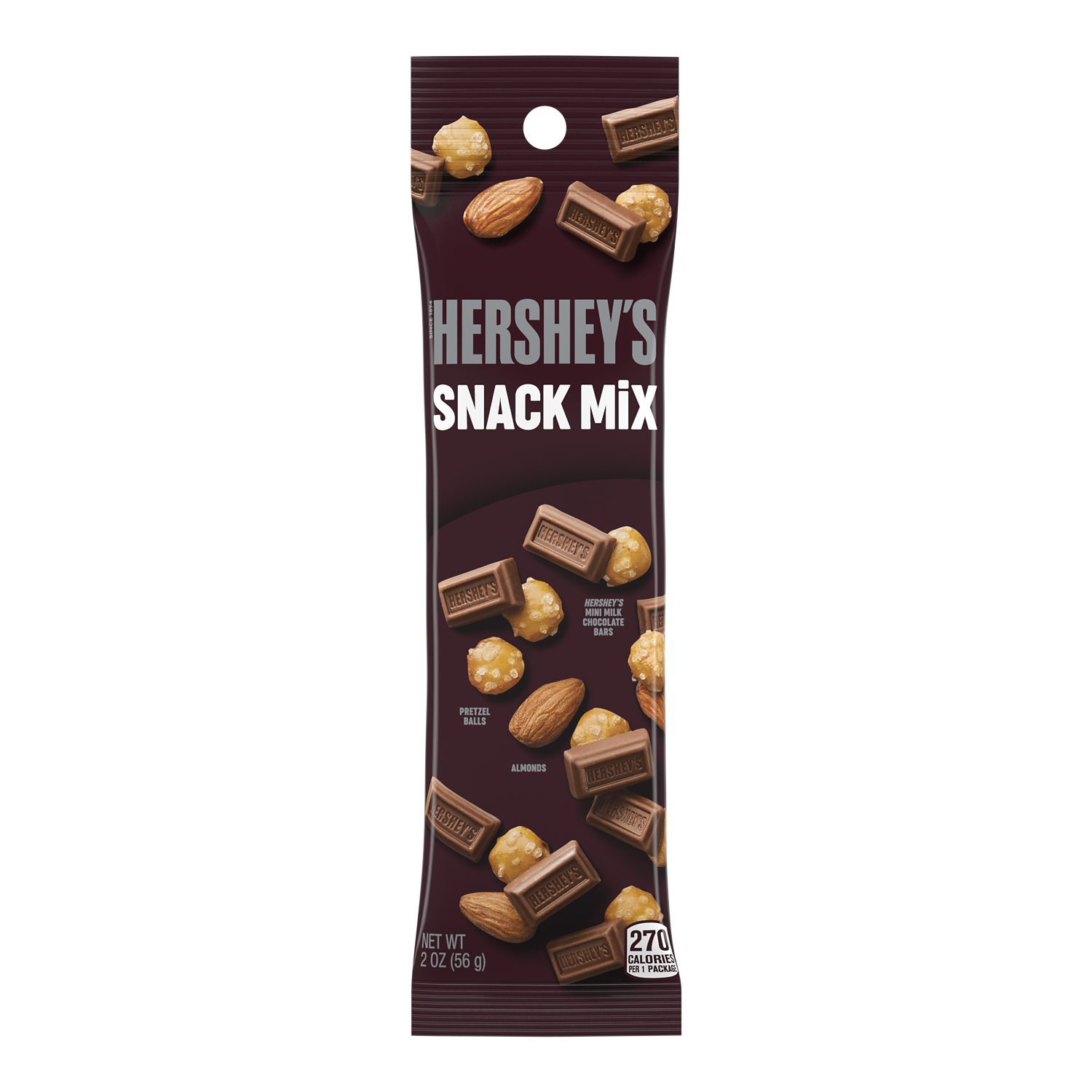 HERSHEY'S Milk Chocolate Snack Mix, 2 oz tube - Front of Package