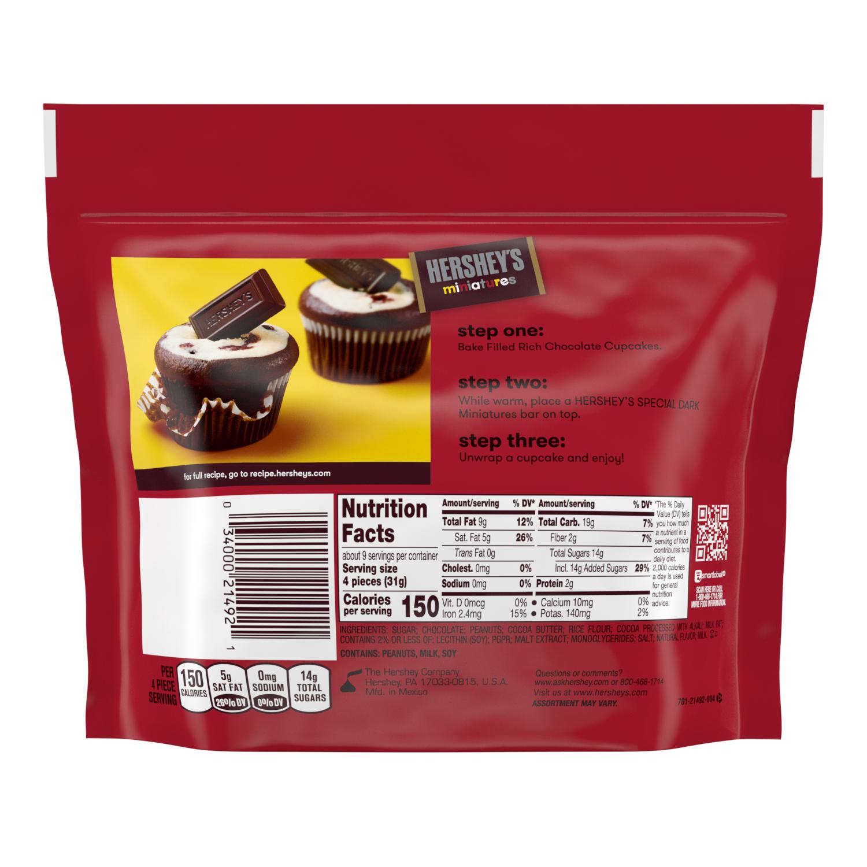 HERSHEY'S SPECIAL DARK Miniatures Dark Chocolate Assortment, 10.1 oz pack - Back of Package