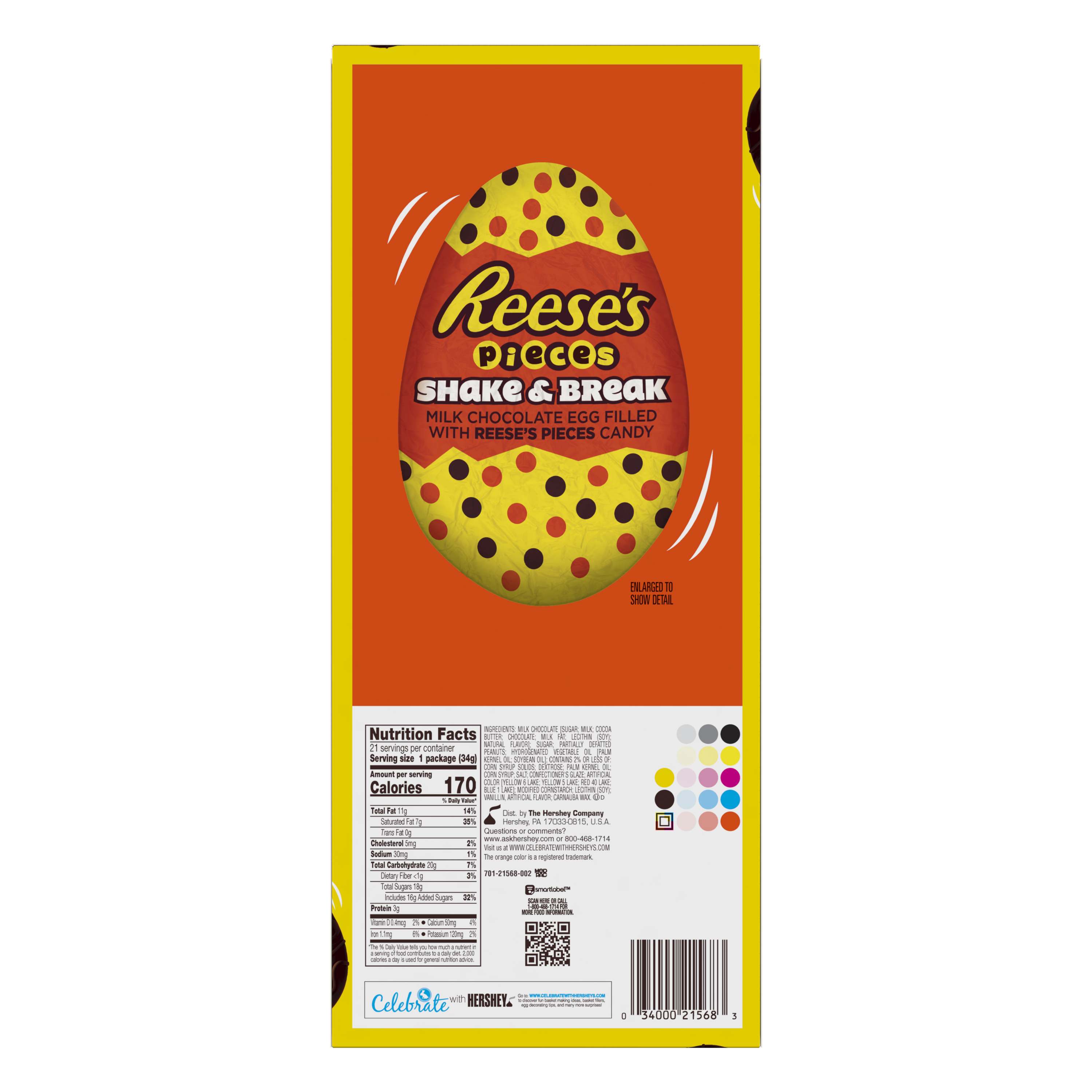 REESE'S PIECES SHAKE & BREAK Milk Chocolate Peanut Butter Eggs, 1.2 oz box, 21 eggs - Back of Package