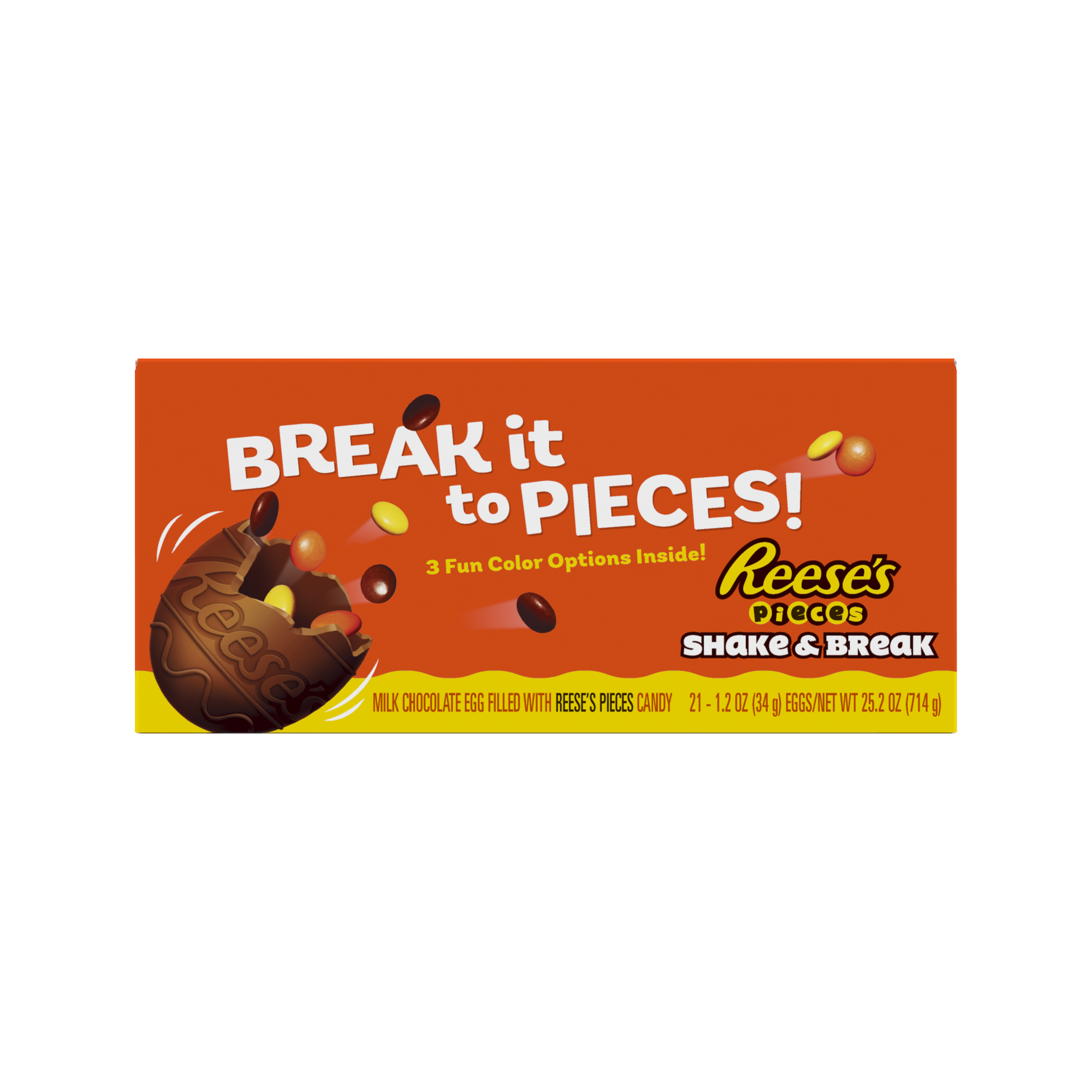 REESE'S PIECES SHAKE & BREAK Milk Chocolate Peanut Butter Eggs, 1.2 oz box, 21 eggs - Front of Package