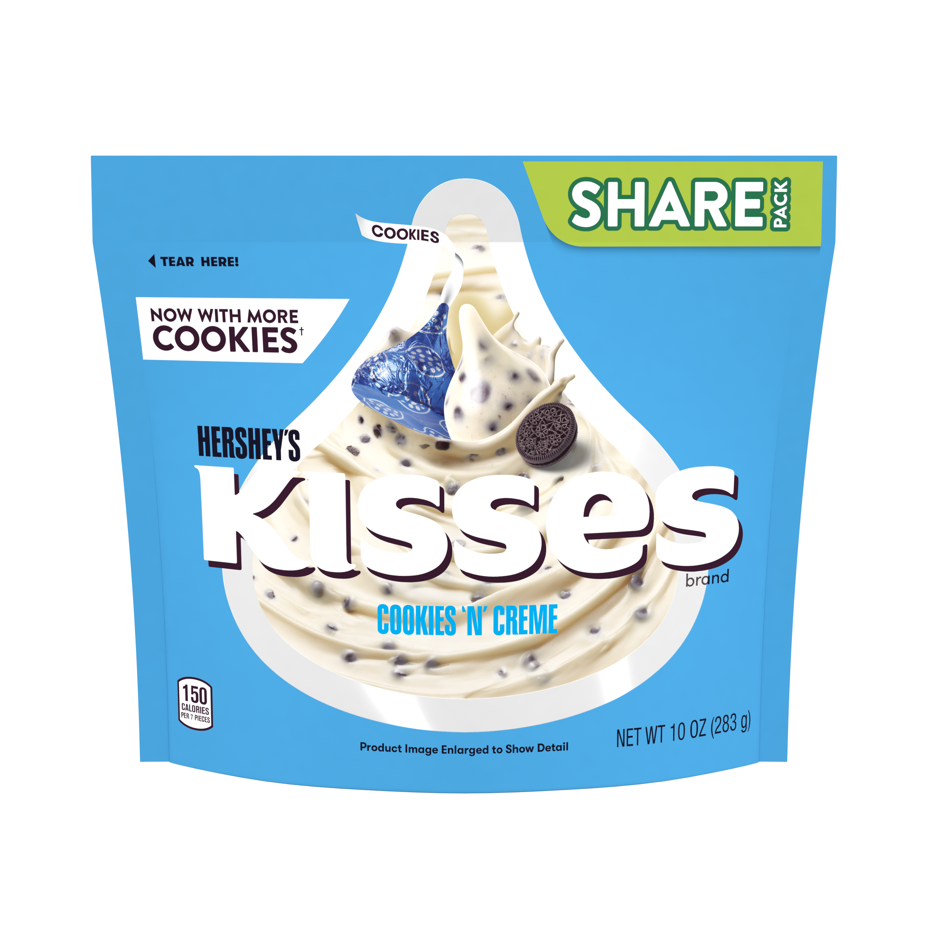 HERSHEY'S KISSES COOKIES 'N' CREME Candy, 10 oz pack - Front of Package