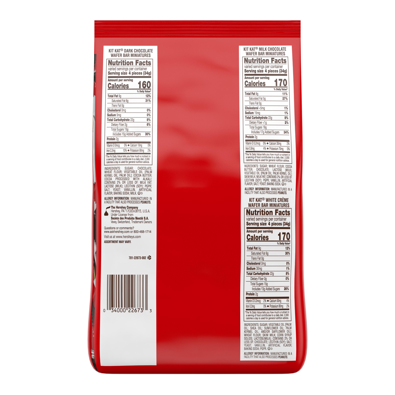 KIT KAT® Miniatures Assortment, 32.1 oz pack - Back of Package