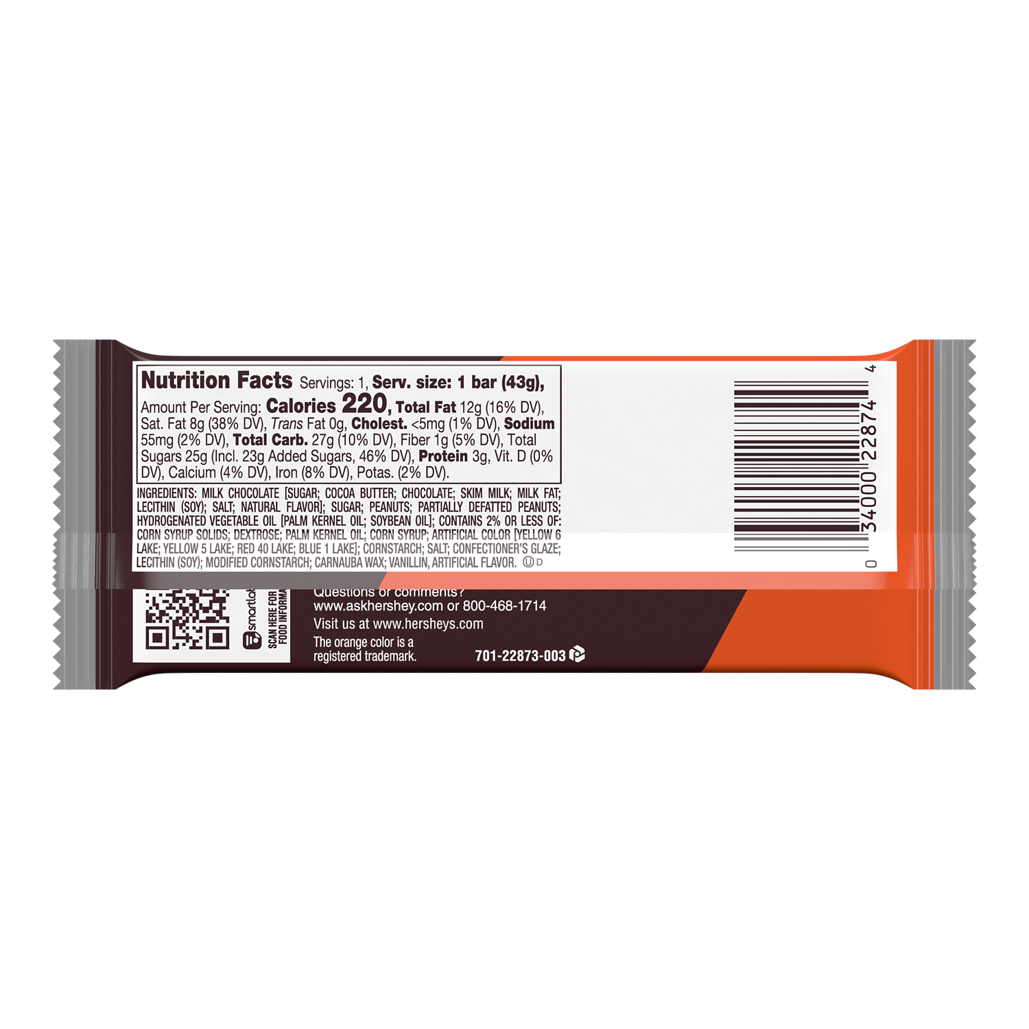 HERSHEY'S Milk Chocolate & REESE'S PIECES Candy Bar, 1.55 oz - Back of Package