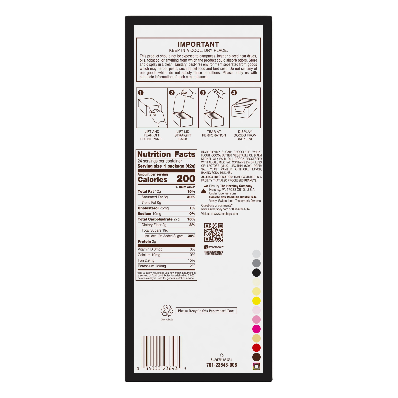 KIT KAT® Dark Chocolate Candy Bars, 1.5 oz box, 24 pack - Bottom of Package