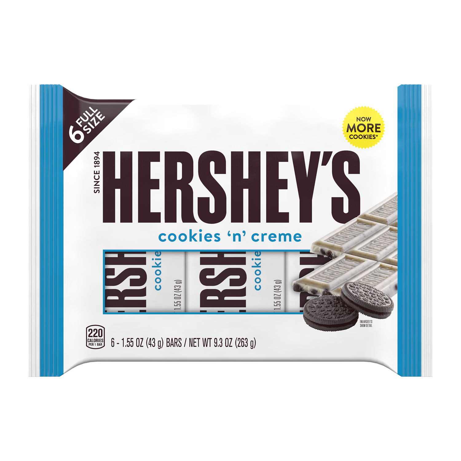 HERSHEY'S COOKIES 'N' CREME Candy Bars, 9.3 oz, 6 pack - Front of Package
