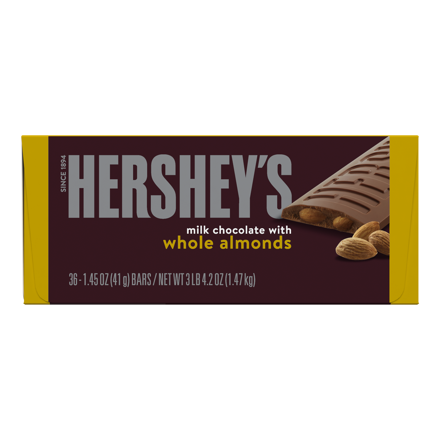 HERSHEY'S Milk Chocolate with Almonds Candy Bars, 52.2 oz box, 36 pack - Front of Package