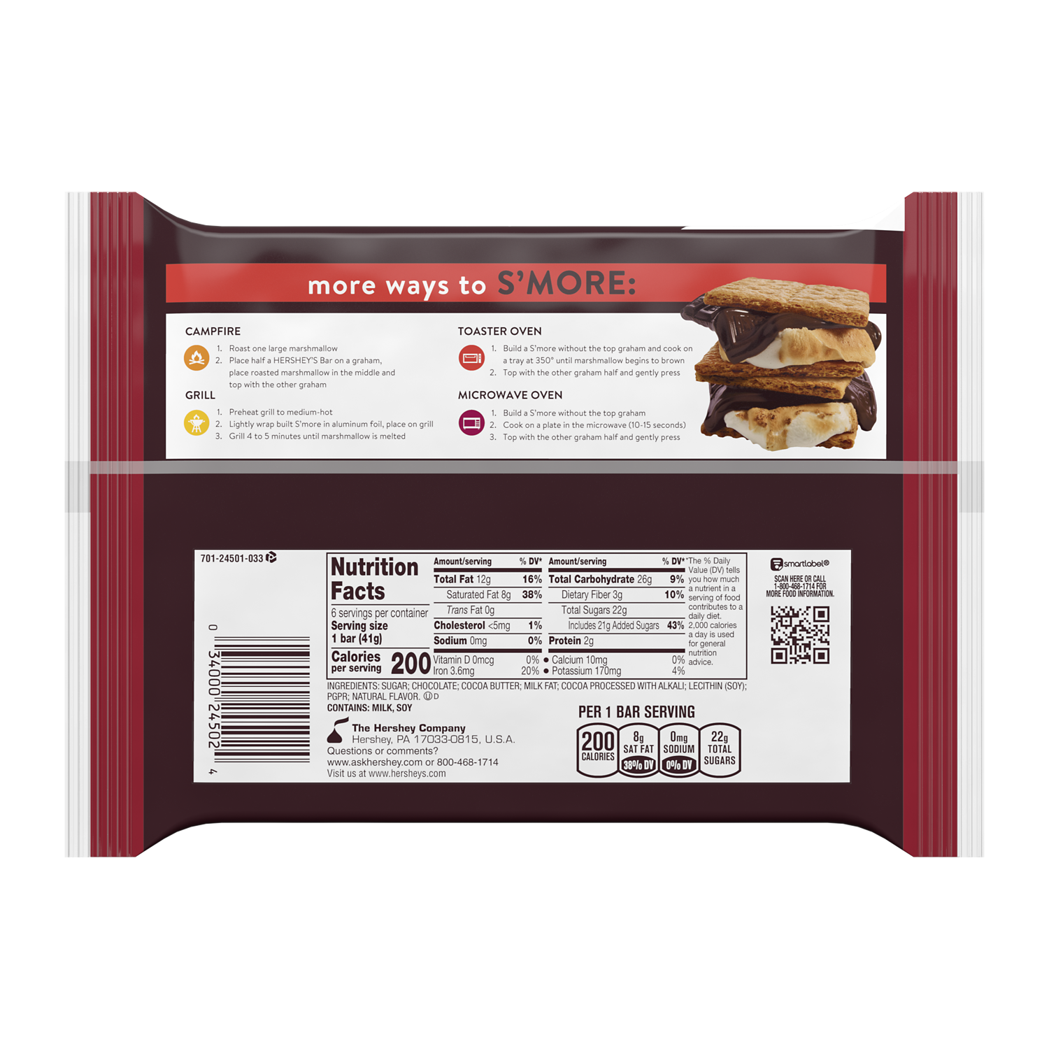 HERSHEY'S SPECIAL DARK Mildly Sweet Chocolate Candy Bars, 8.7 oz, 6 pack - Back of Package
