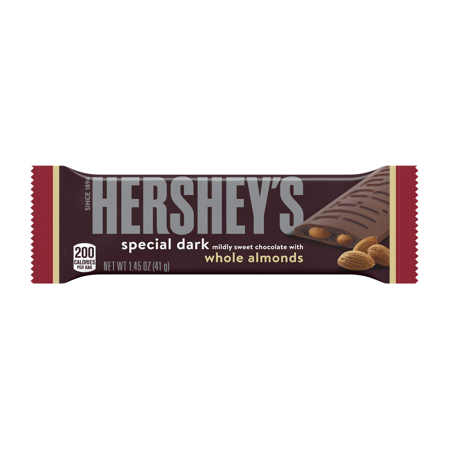 HERSHEY'S SPECIAL DARK Mildly Sweet Chocolate with Almonds Candy Bar, 1.45 oz - Front of Package