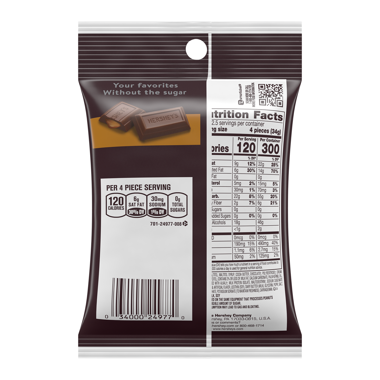 HERSHEY'S Zero Sugar Caramel Filled Chocolate Candy, 3 oz bag - Back of Package